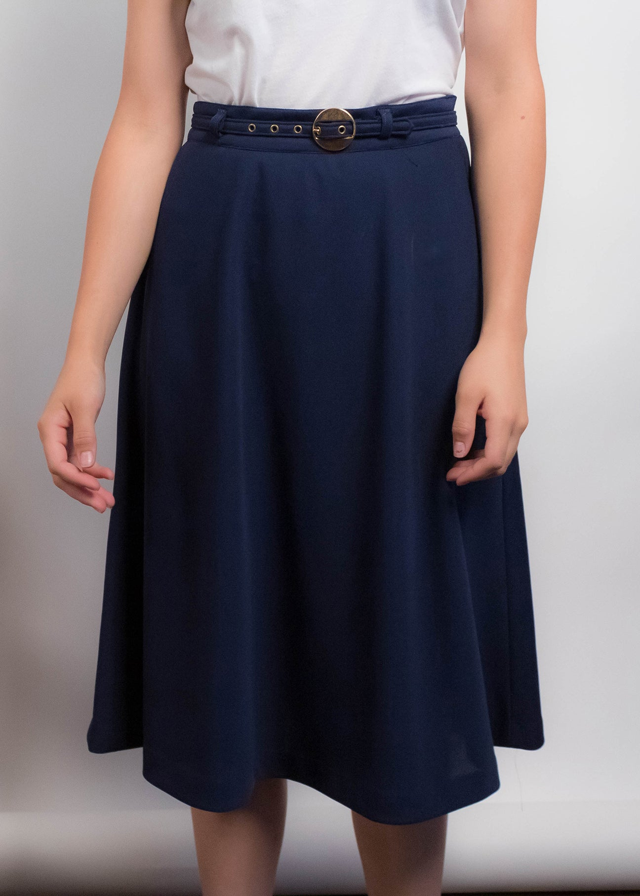 70s Navy A-line Knit Skirt
