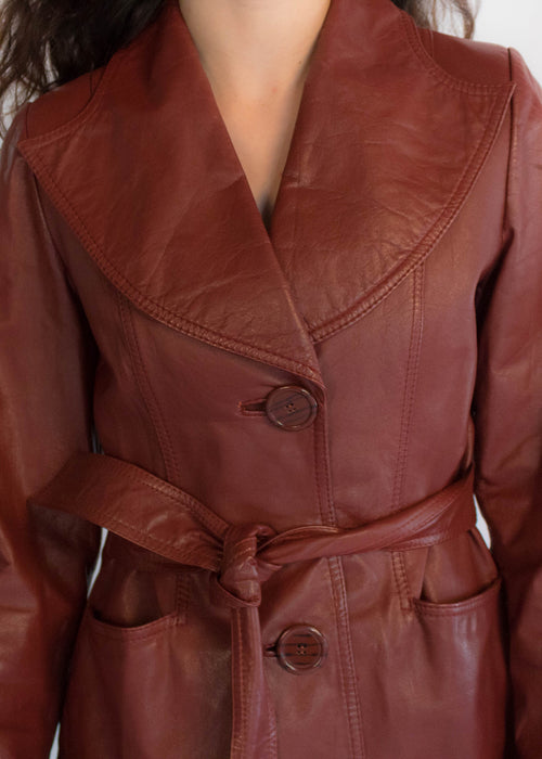 70s Rustic Red Leather Coat