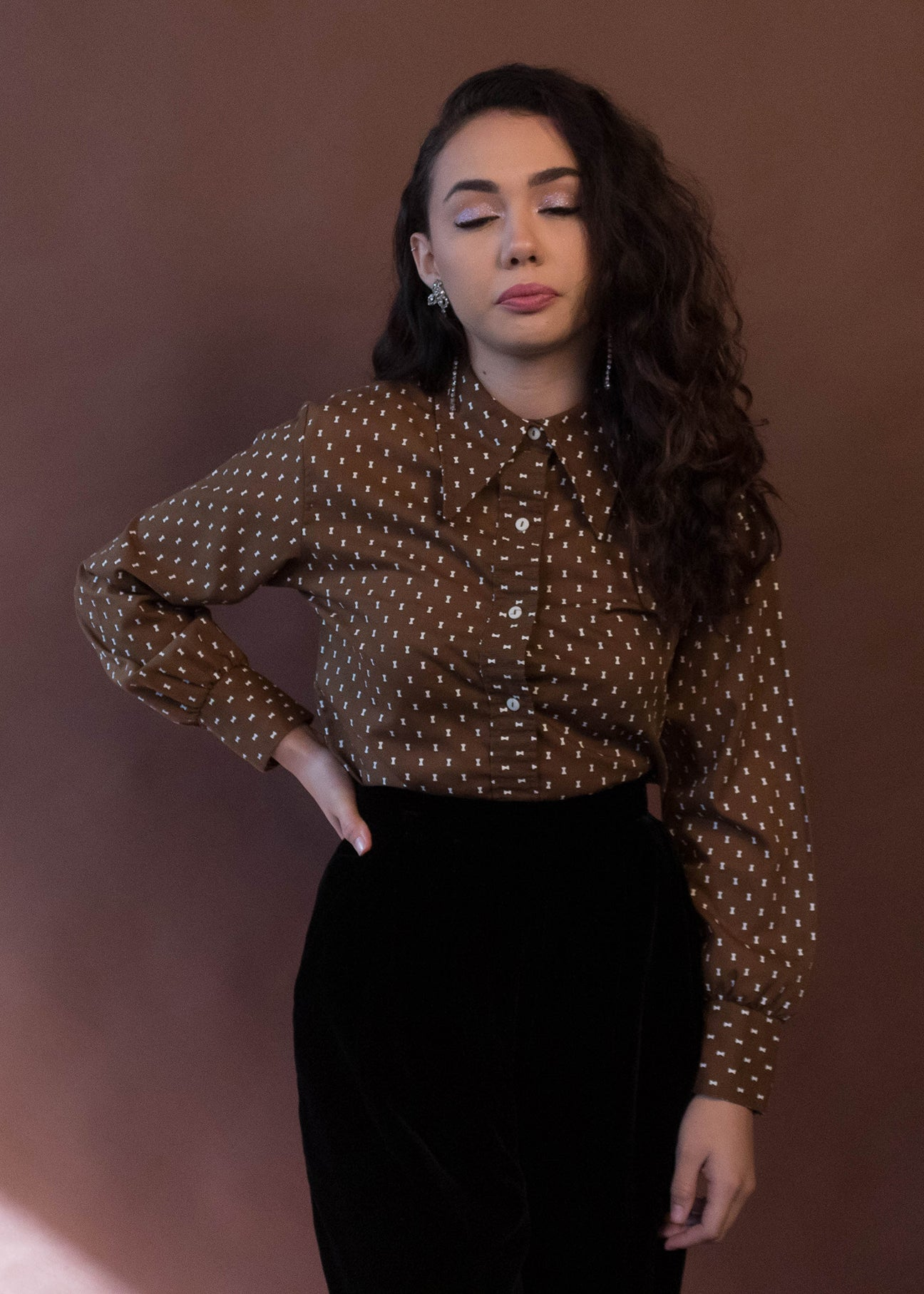 60s Pointy Collar Print Blouse