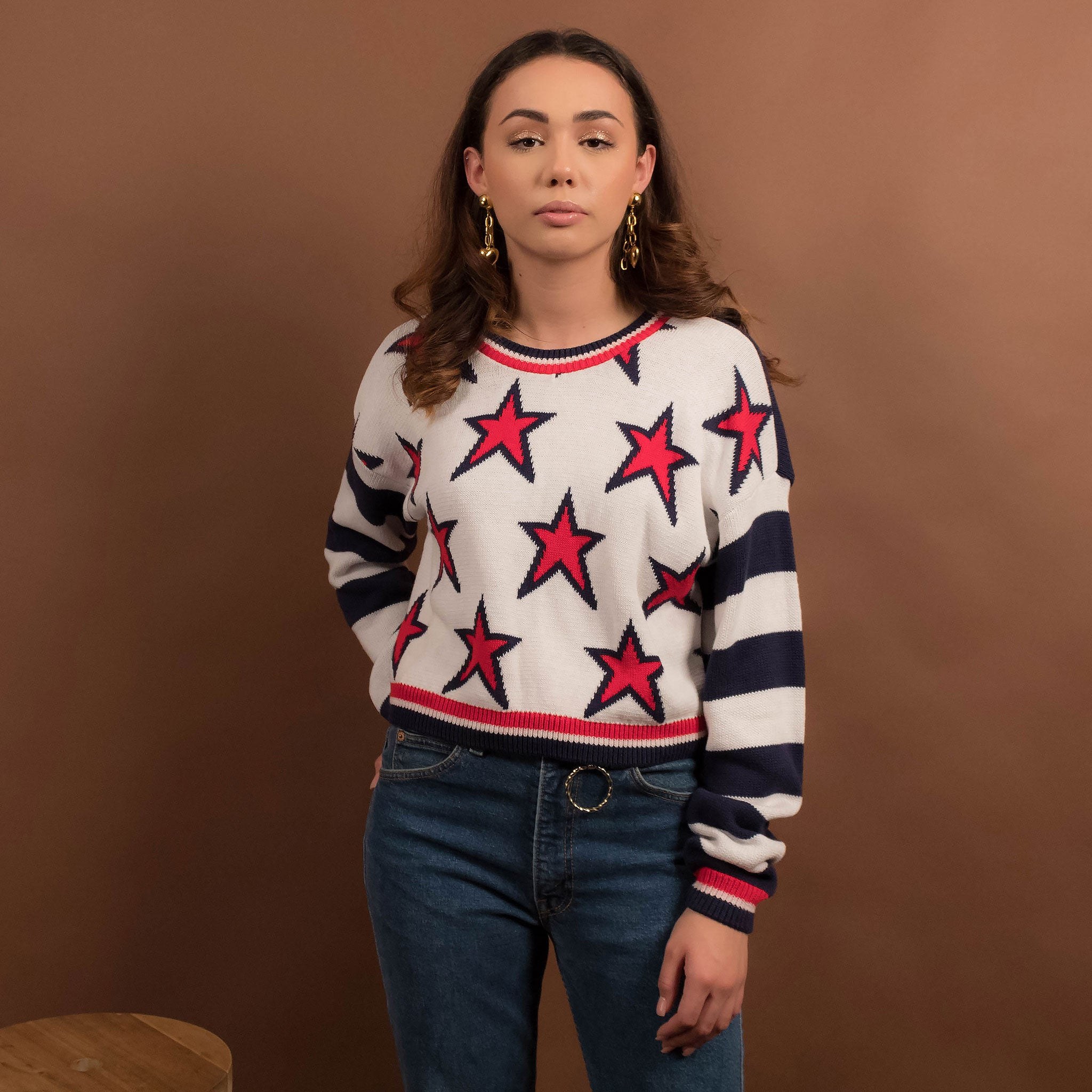 80s Americana Crop Sweater