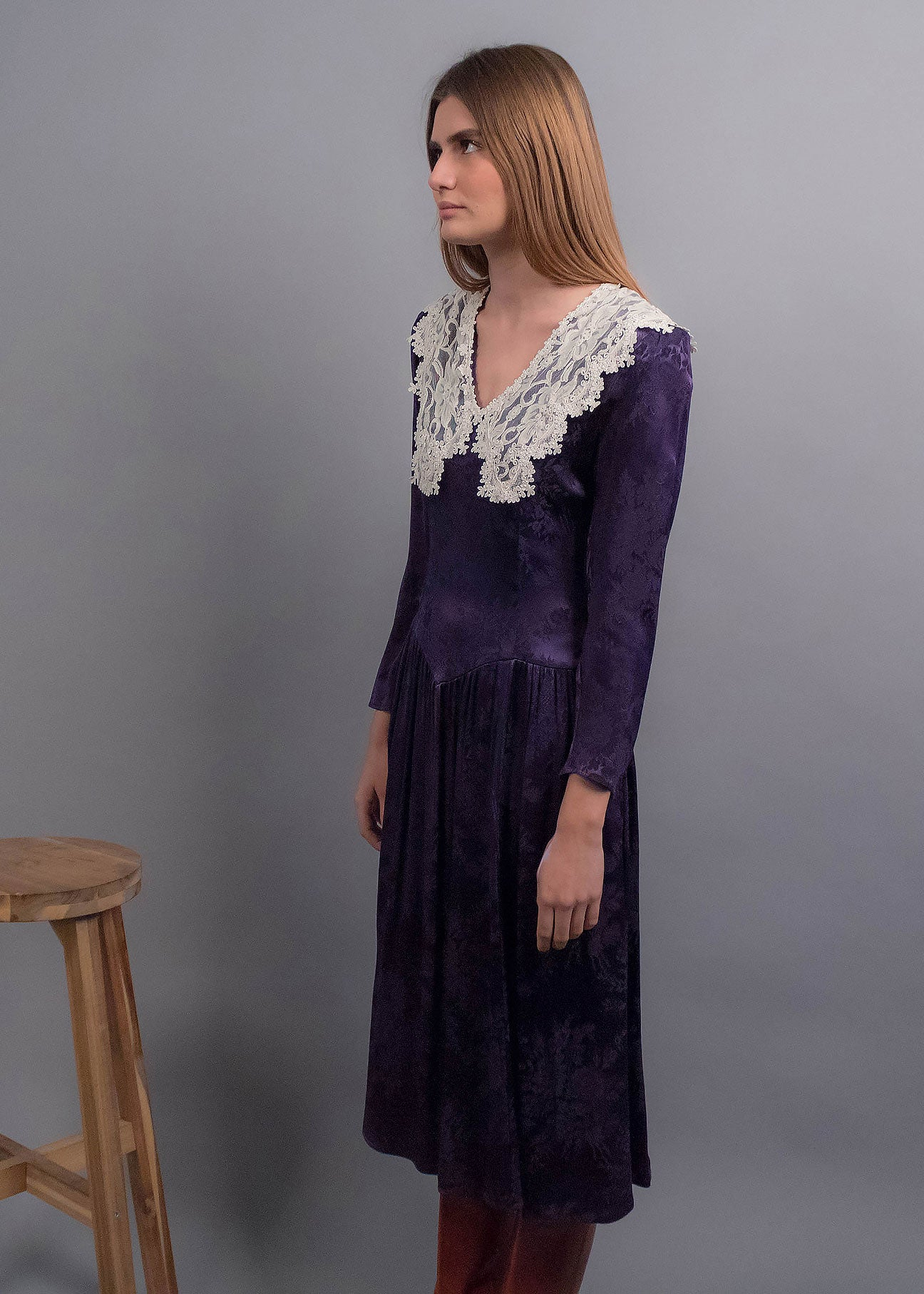 80s Gunne Sax Jacquard Floral Dress