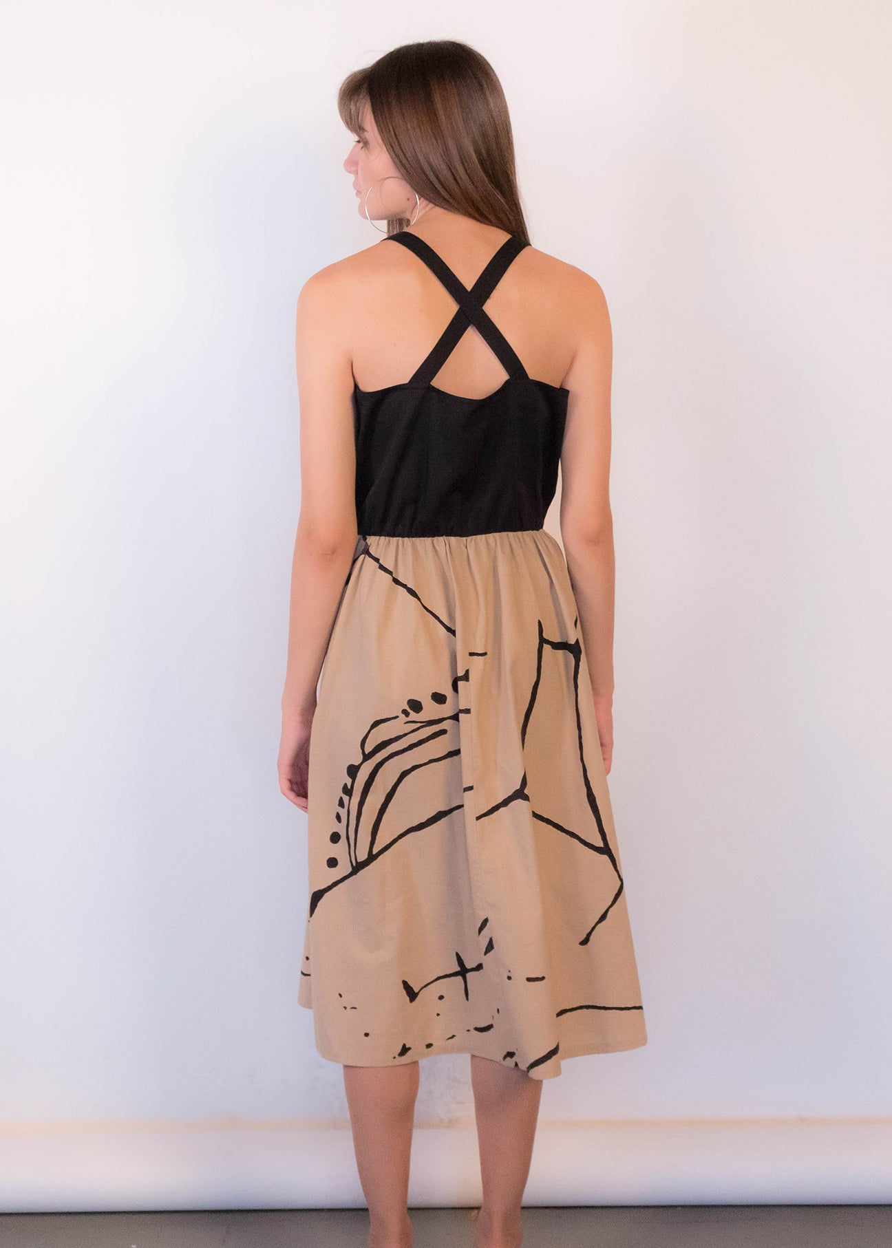 80s Criss-Cross Back Abstract Dress