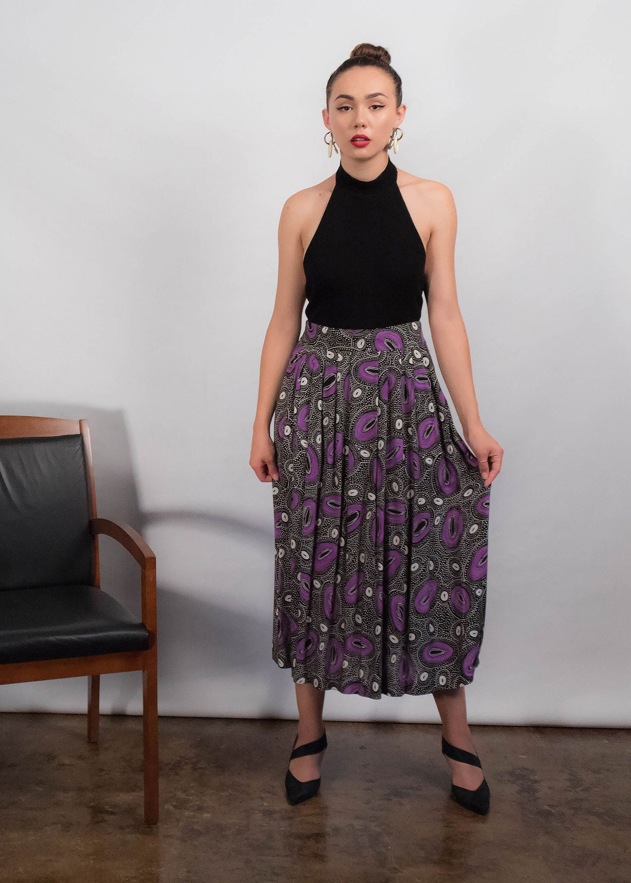 80s Abstract Pleated Skirt
