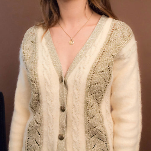 80s Angora Cable Knit Cardigan