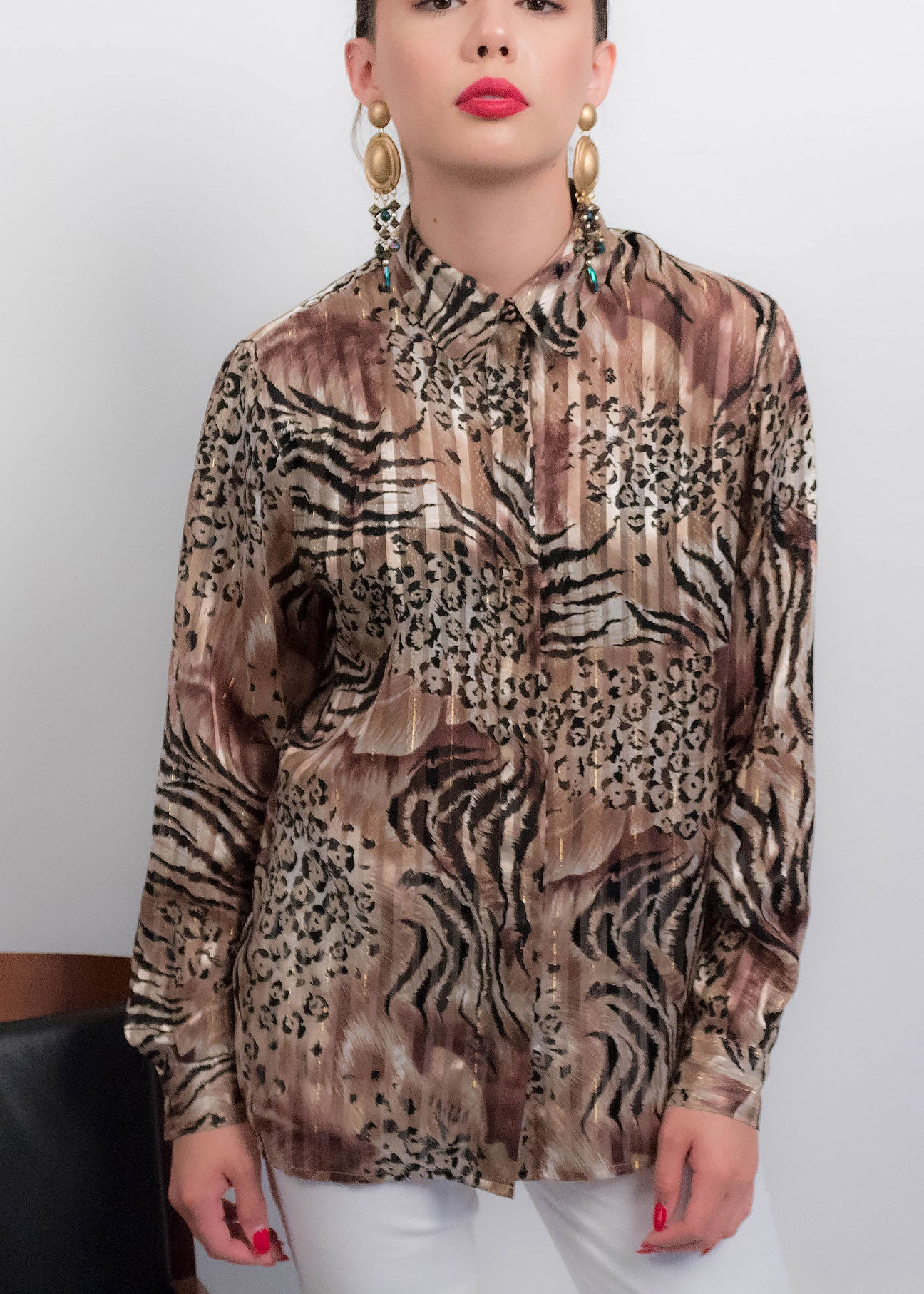 90s Leopard Print Sheer Blouse