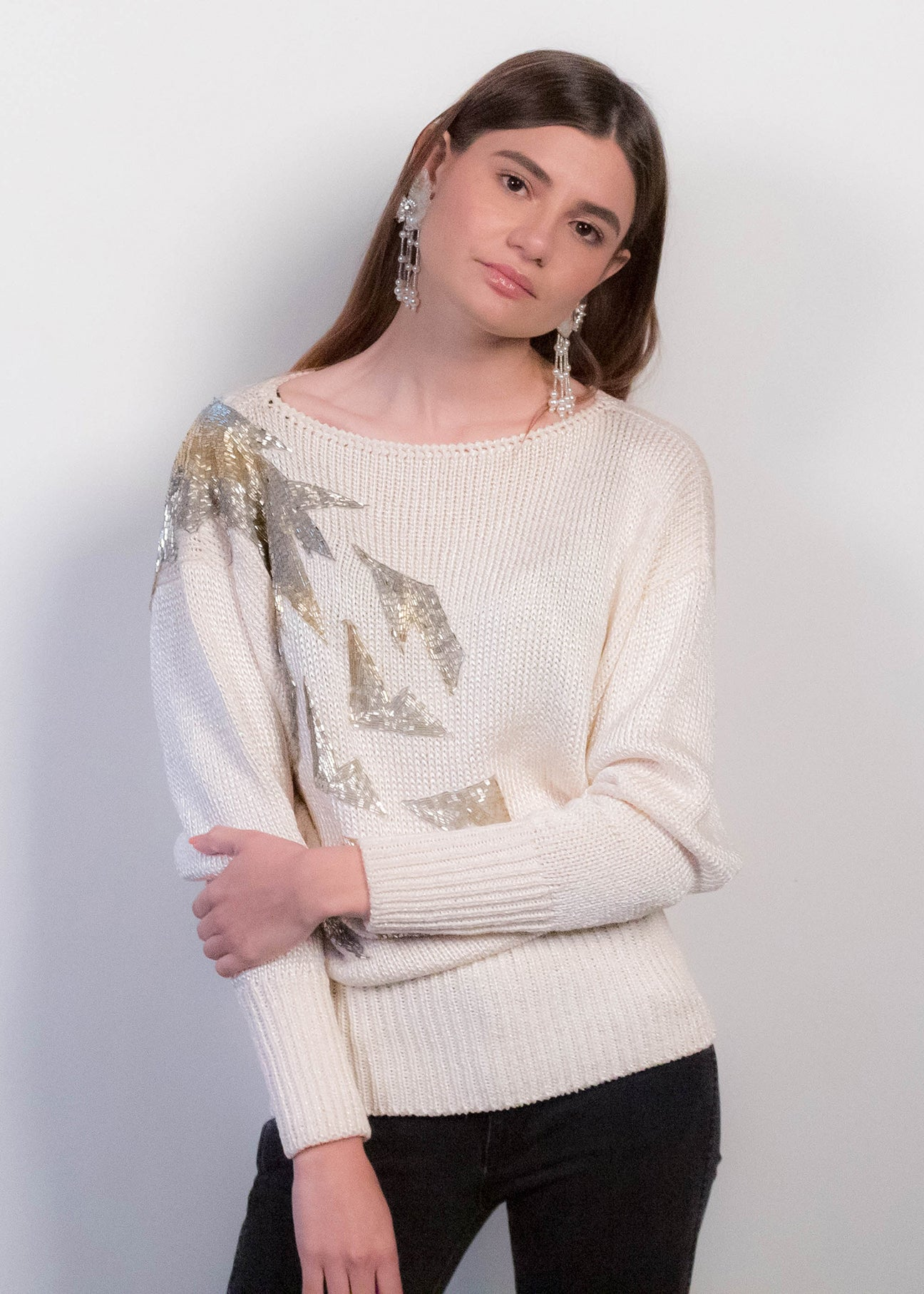 80s Glass Beaded Sweater
