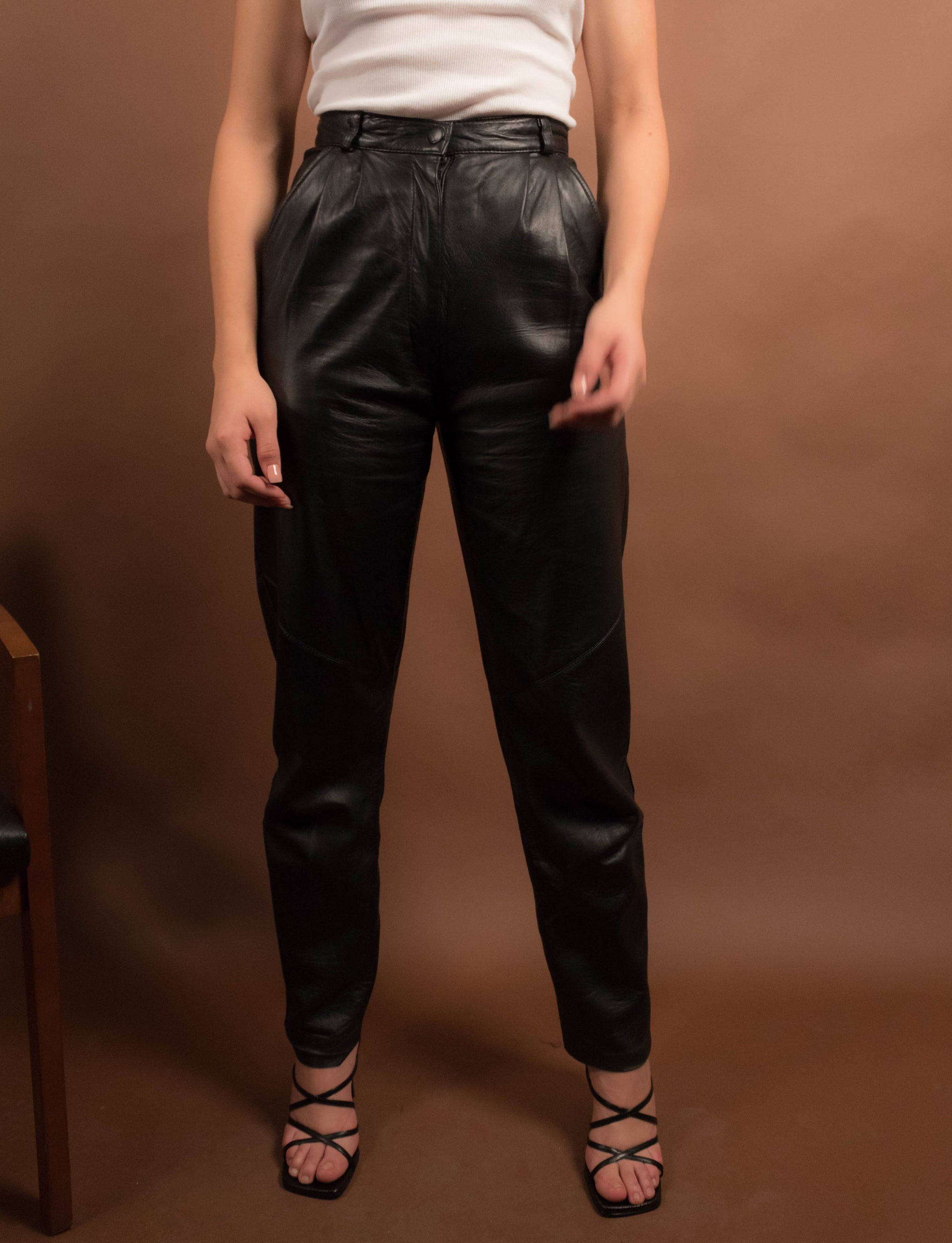 80s Black Leather Pants