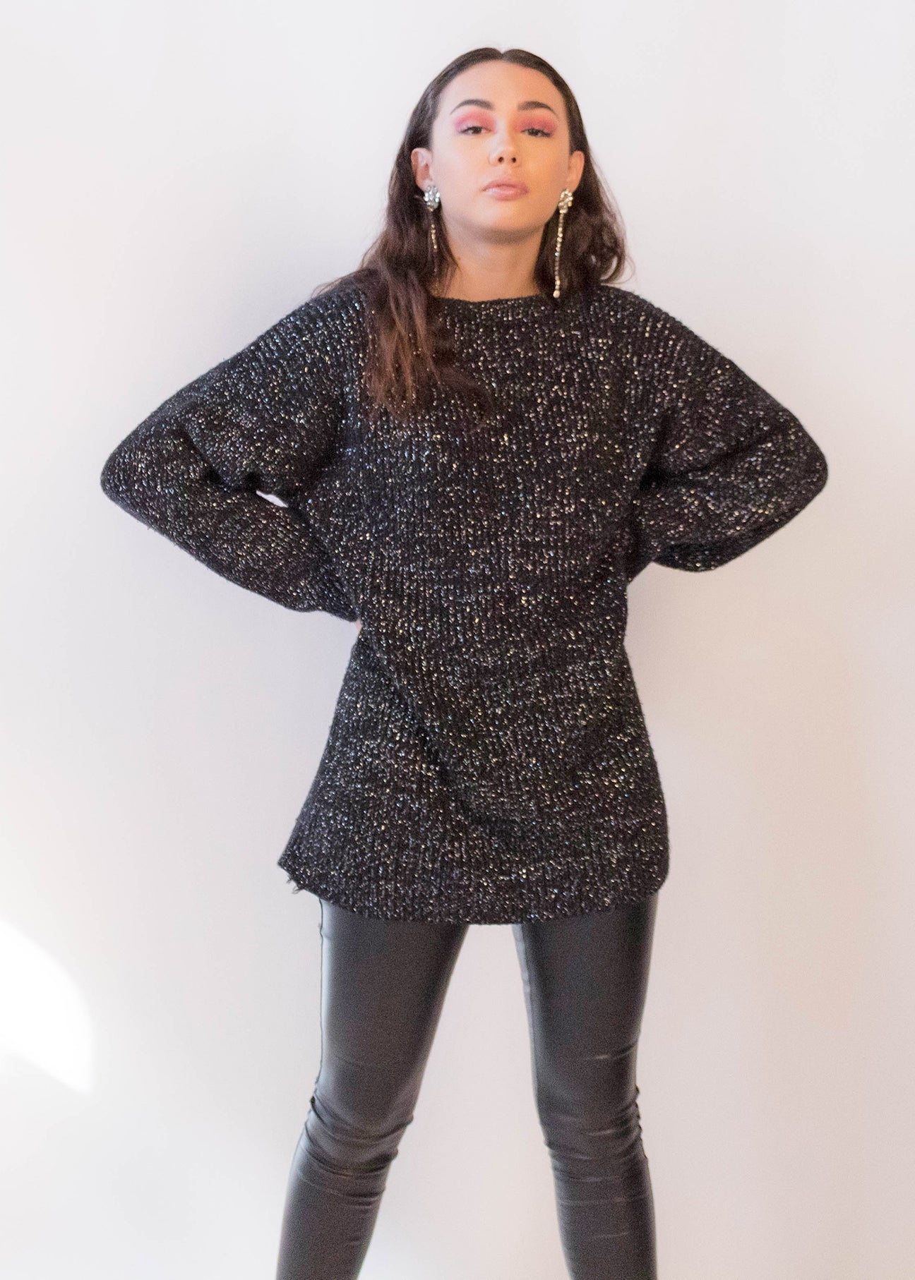 80s Oversized Silver Metallic Sweater