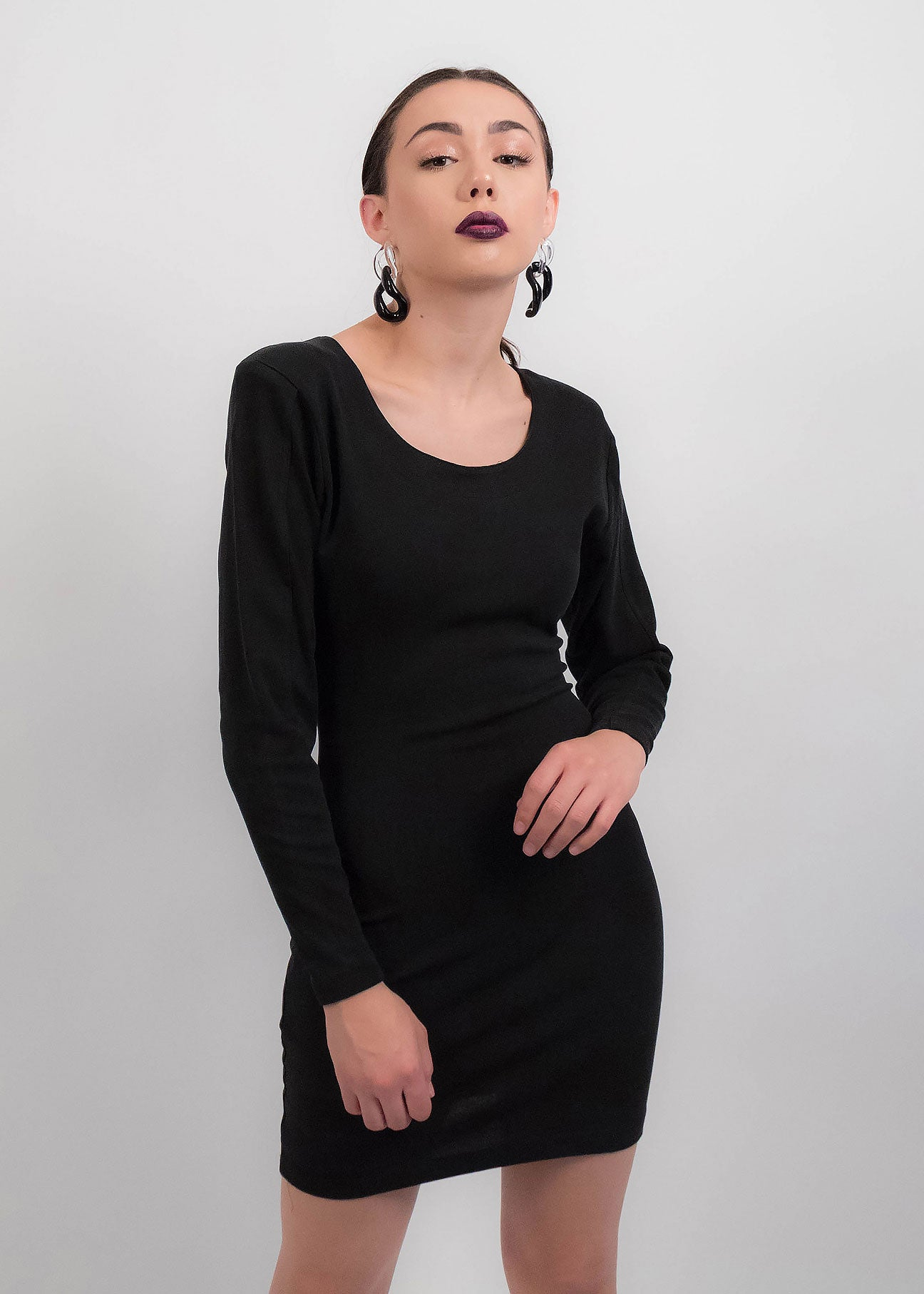 80s Black Body-Con Dress