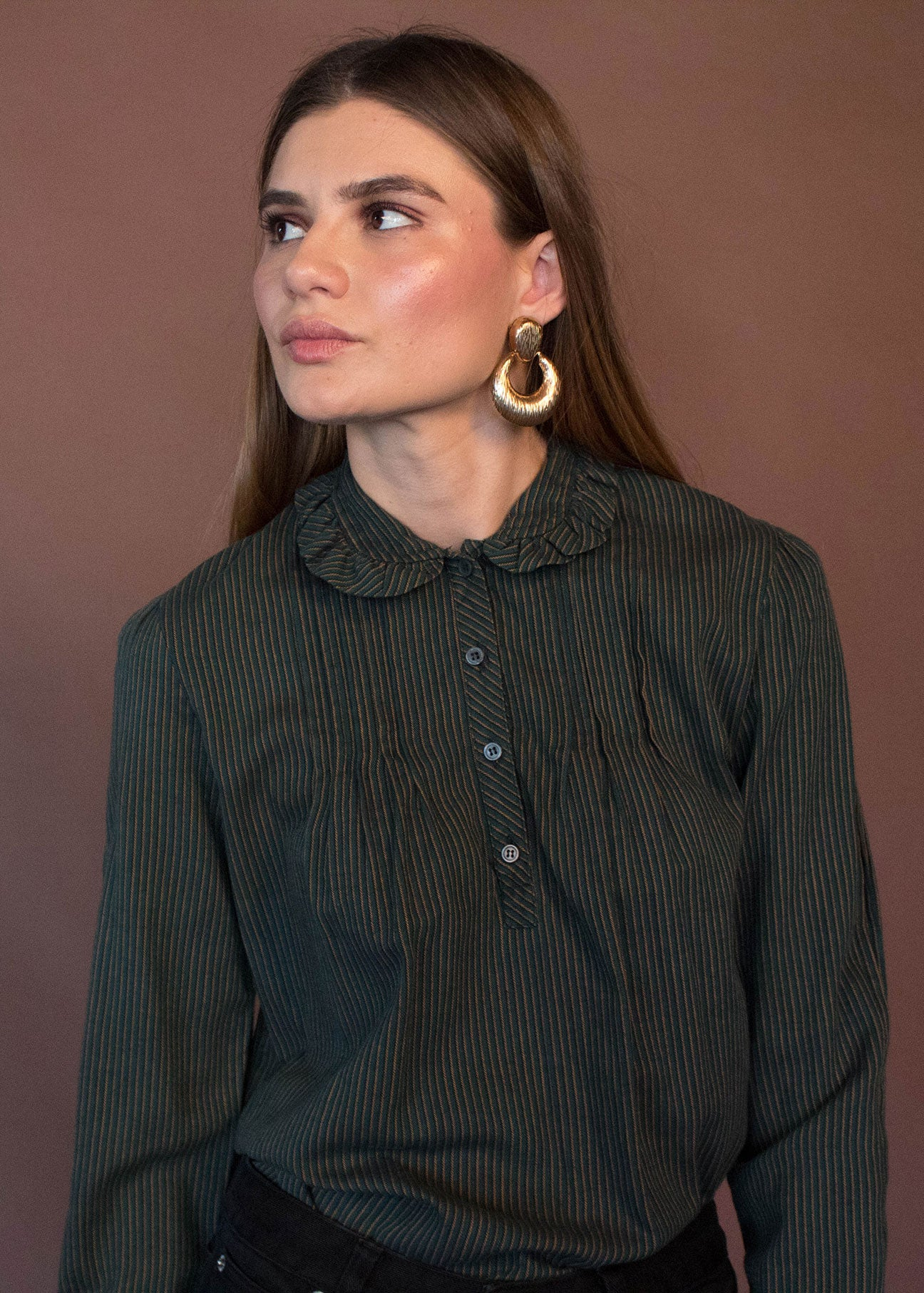80s Prairie Peter Pan Collar Top