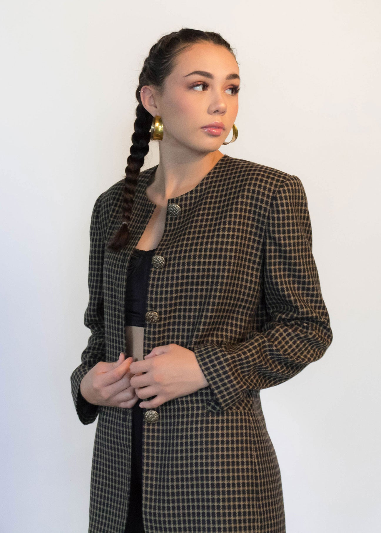 80s Oversized Plaid Blazer