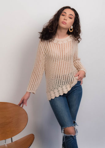 80s Crochet Knit Sweater Top