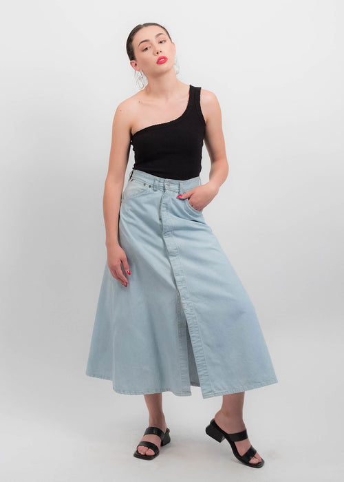 80s Cotton Denim Skirt