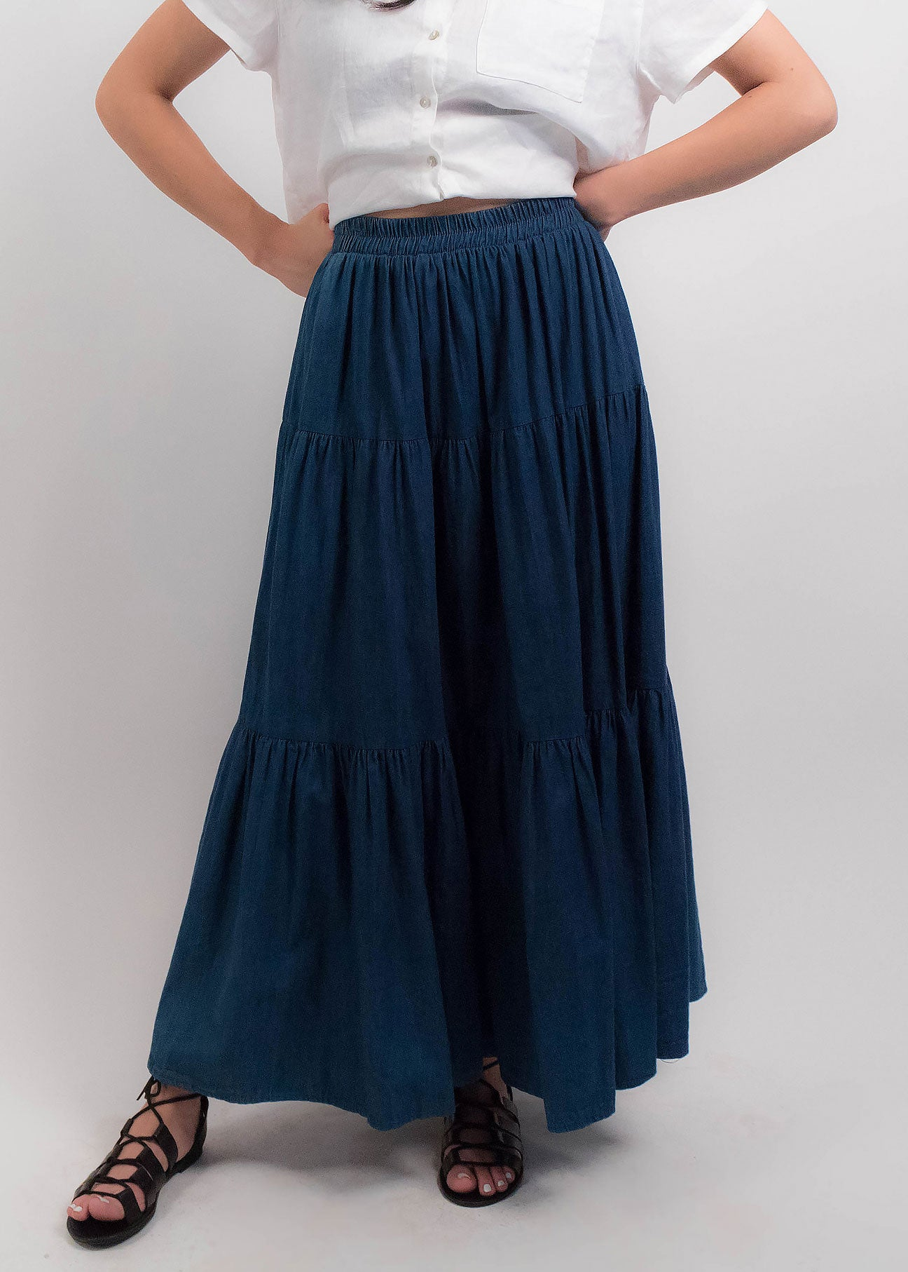 80s Denim Boho Peasant Skirt