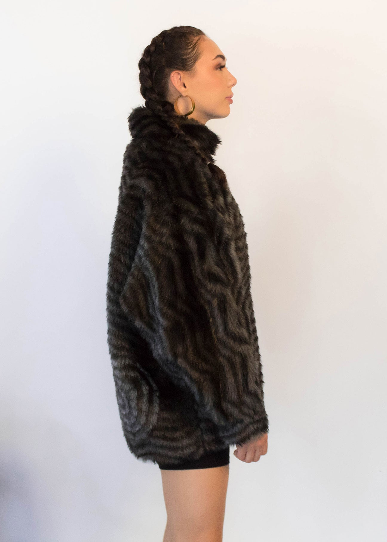 80s Faux Fur Bomber Jacket