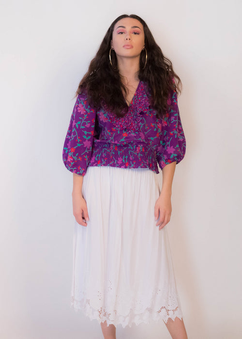 80s Floral Embroidered Cut-Out Skirt