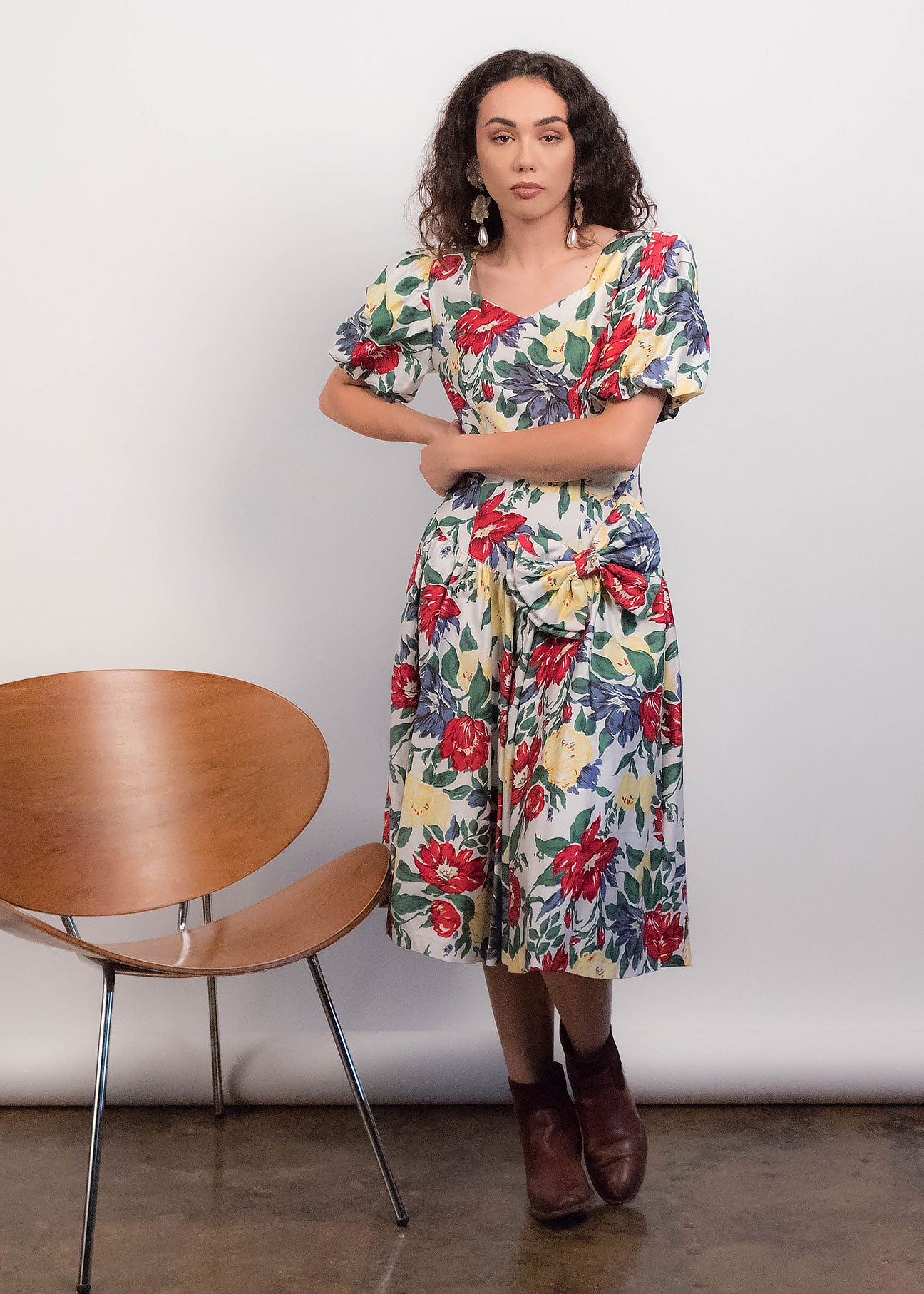 80s Floral Puff Sleeve Dress