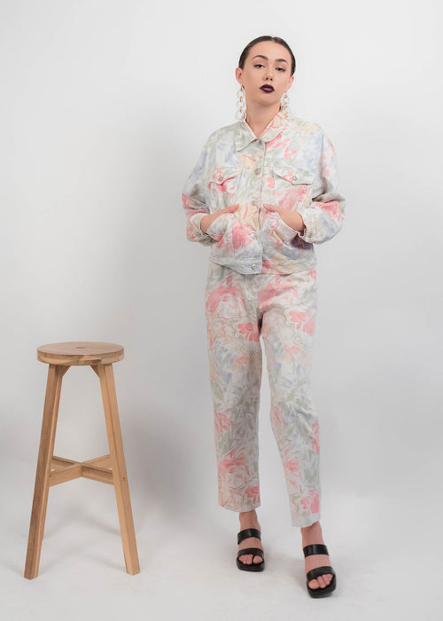80s Floral Denim Set