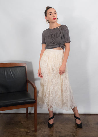 80s Black Pleated Skirt
