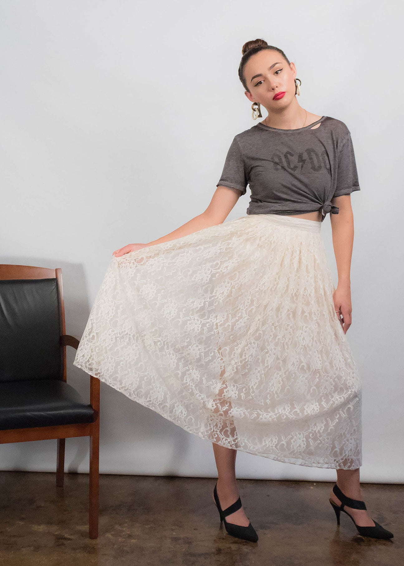 80s Floral Lace Skirt