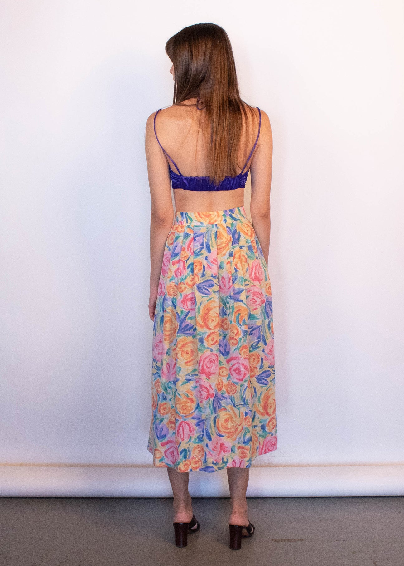 80s Floral Abstract Skirt