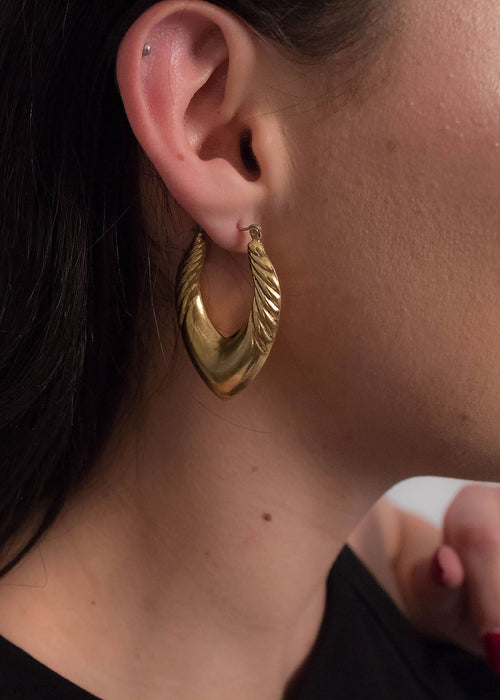 80s Puff Hoop Earrings
