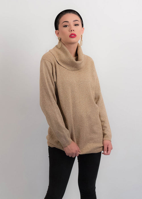 90s Gold Lurex Turtleneck Sweater