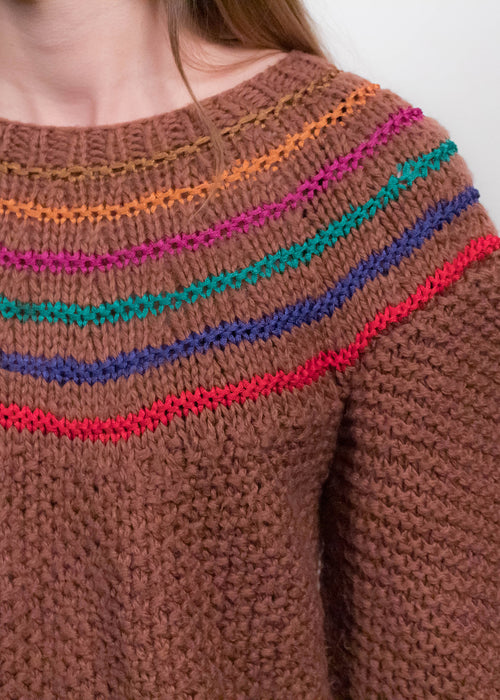 80s Hand-Knit Balloon Sleeve Sweater