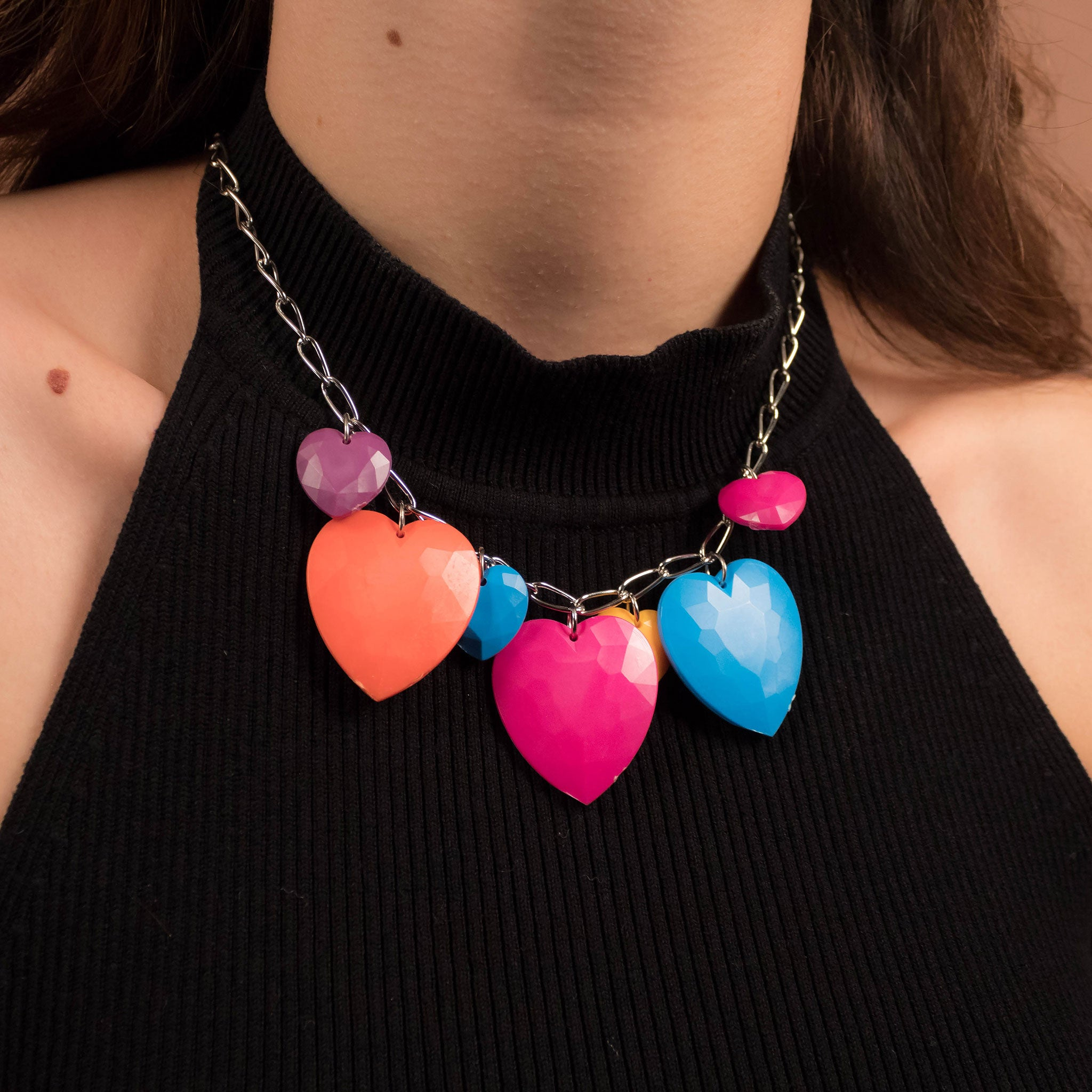 80s Heart Charm Necklace