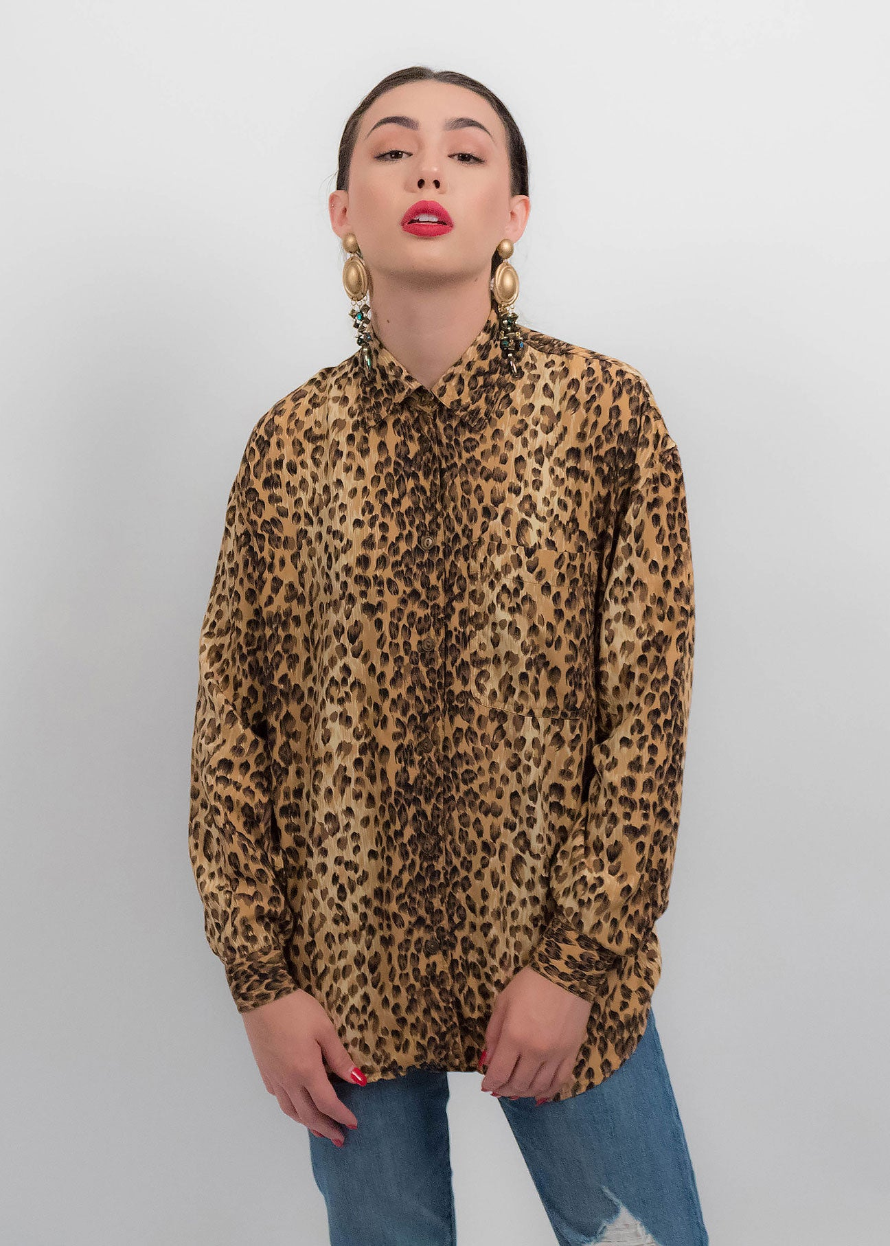 80s Oversized Cheetah Blouse