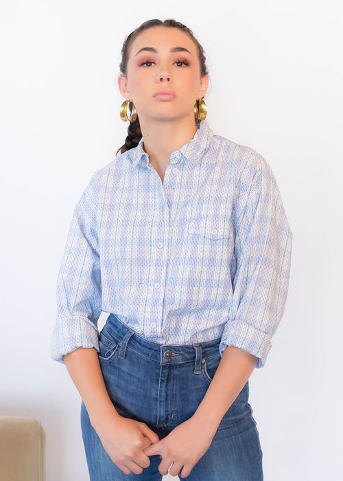 80s Plaid Pastel Cotton Shirt