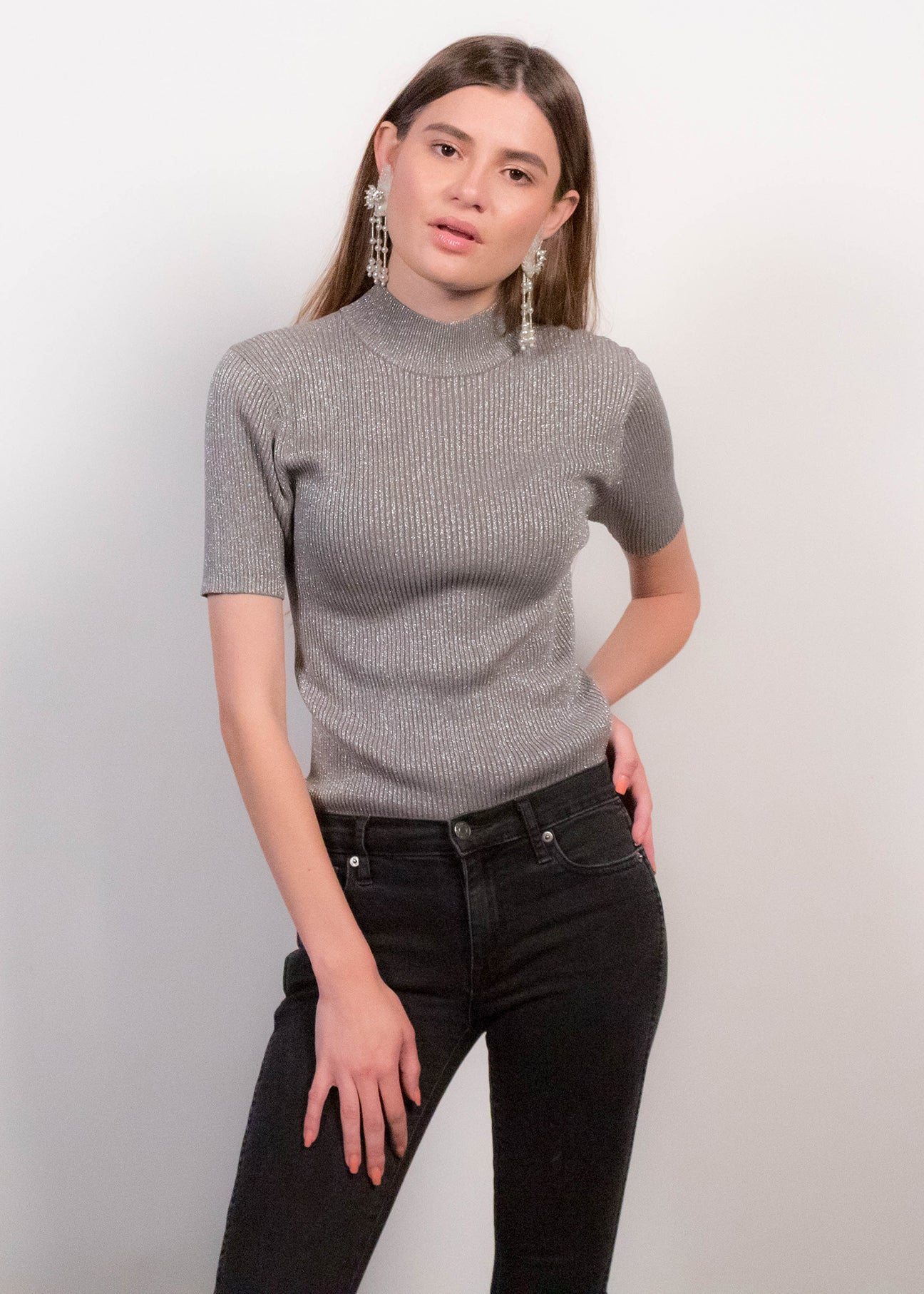 90s Ribbed Silk Metallic Top