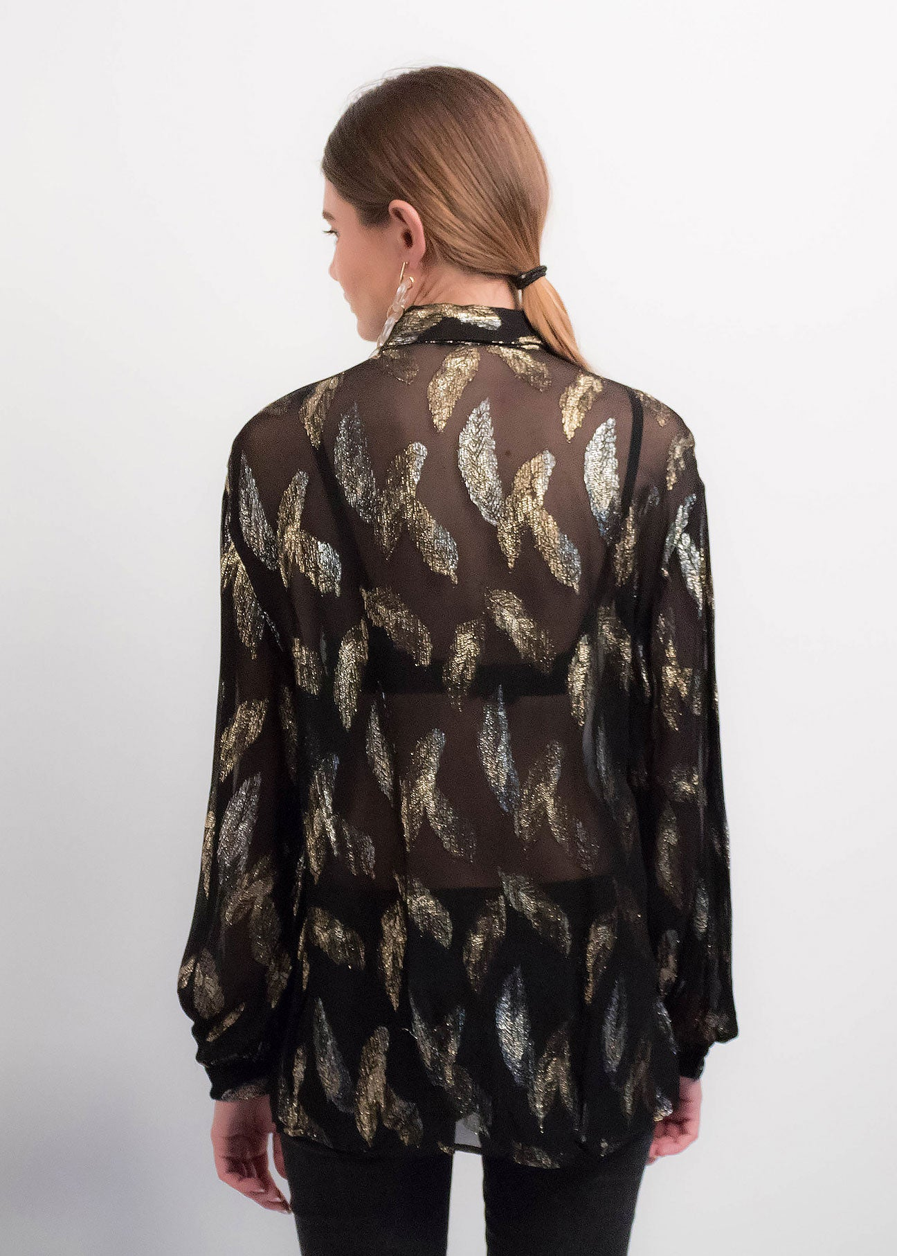80s Sheer Metallic Blouse