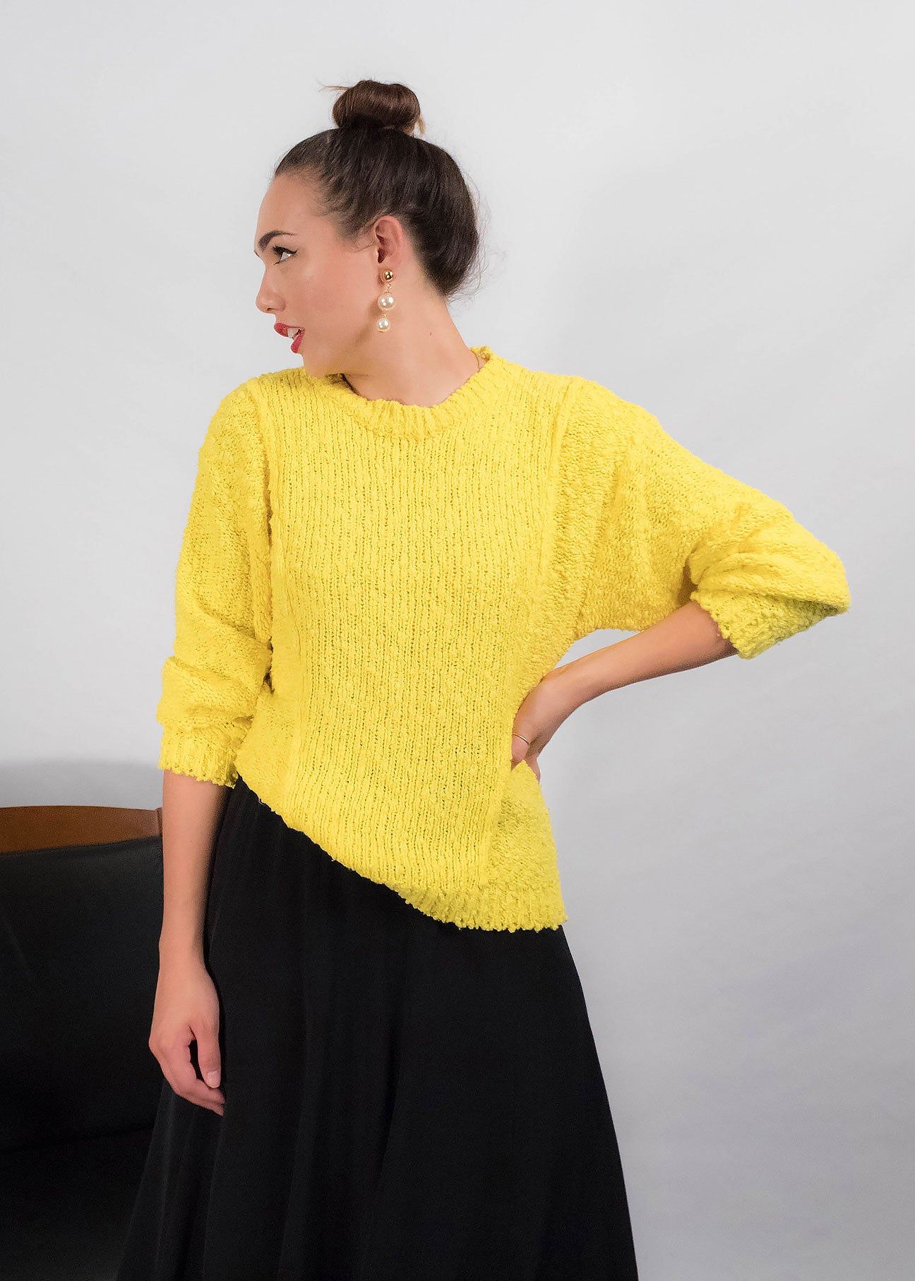 80s Neon Yellow Sweater