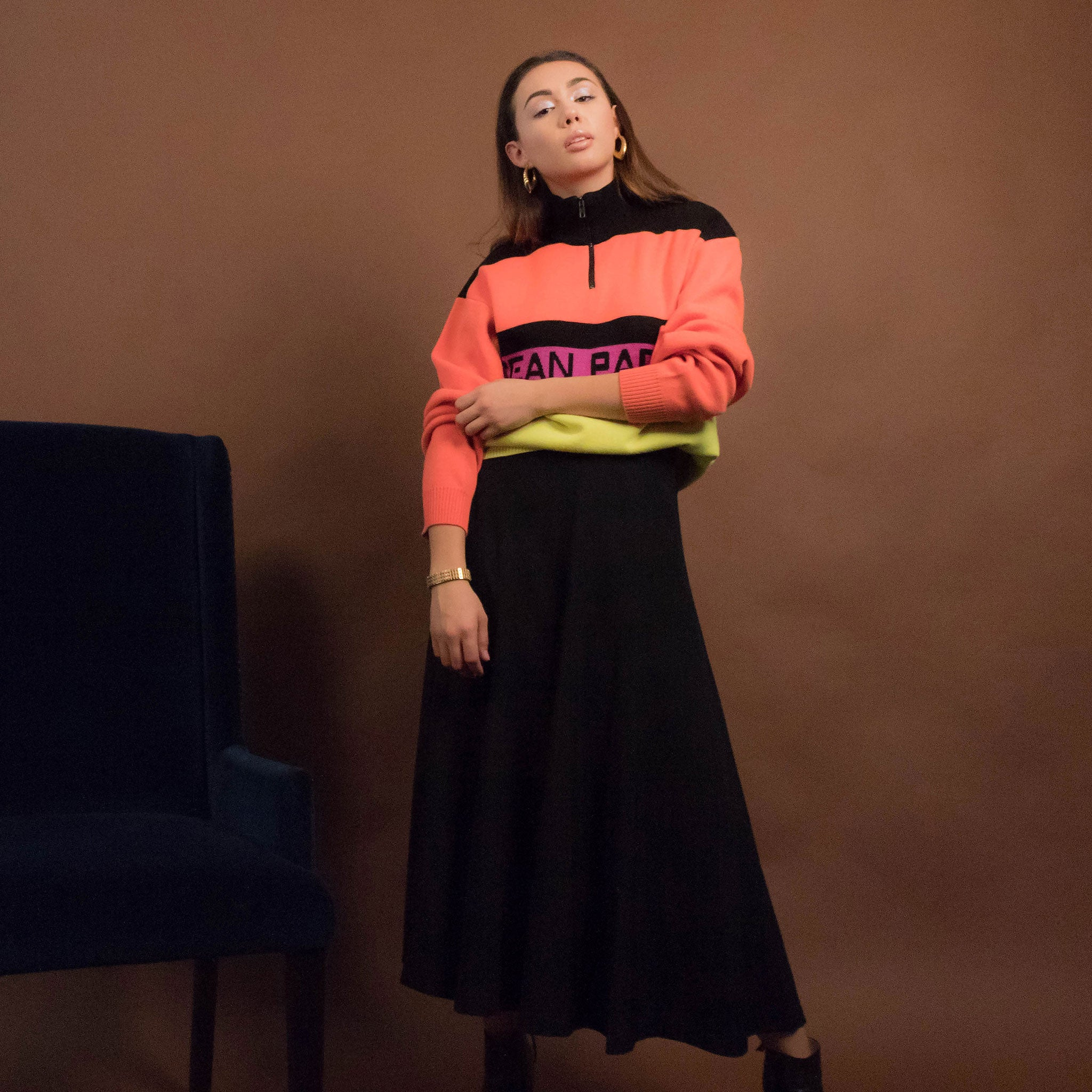 80s Color-Black Neon Sweater