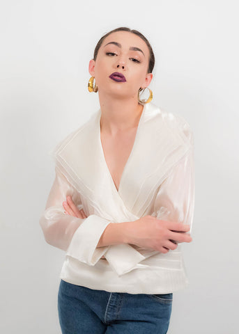 80s Asymmetrical Collar Blouse