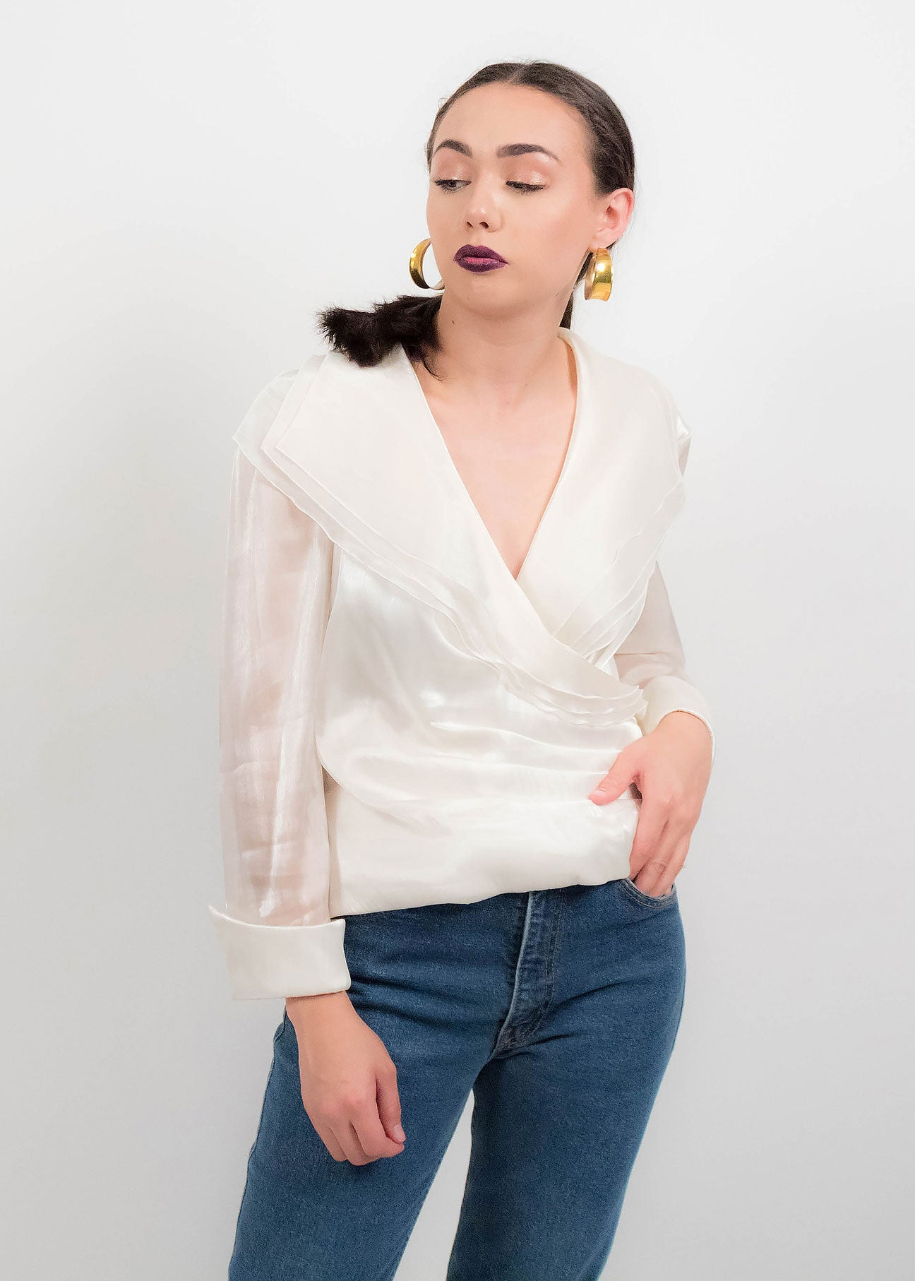 80s White Organza Blouse