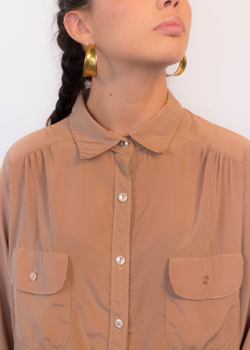 80s Oversized Silky Blouse