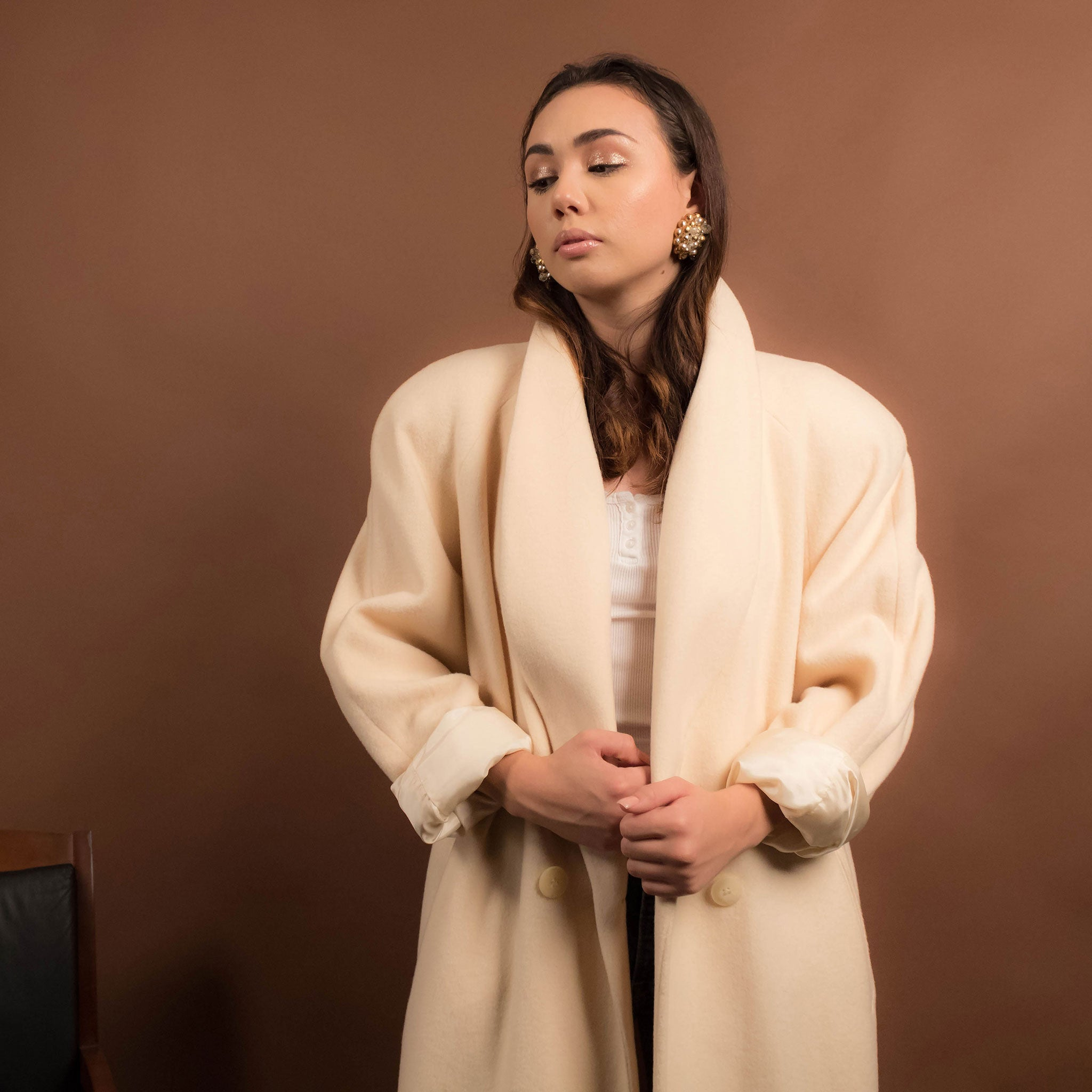80s Cream Oversized Wool Coat