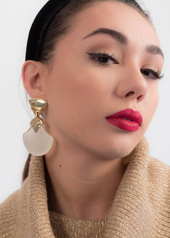 80s Gold Ball Sphere Drop Earrings