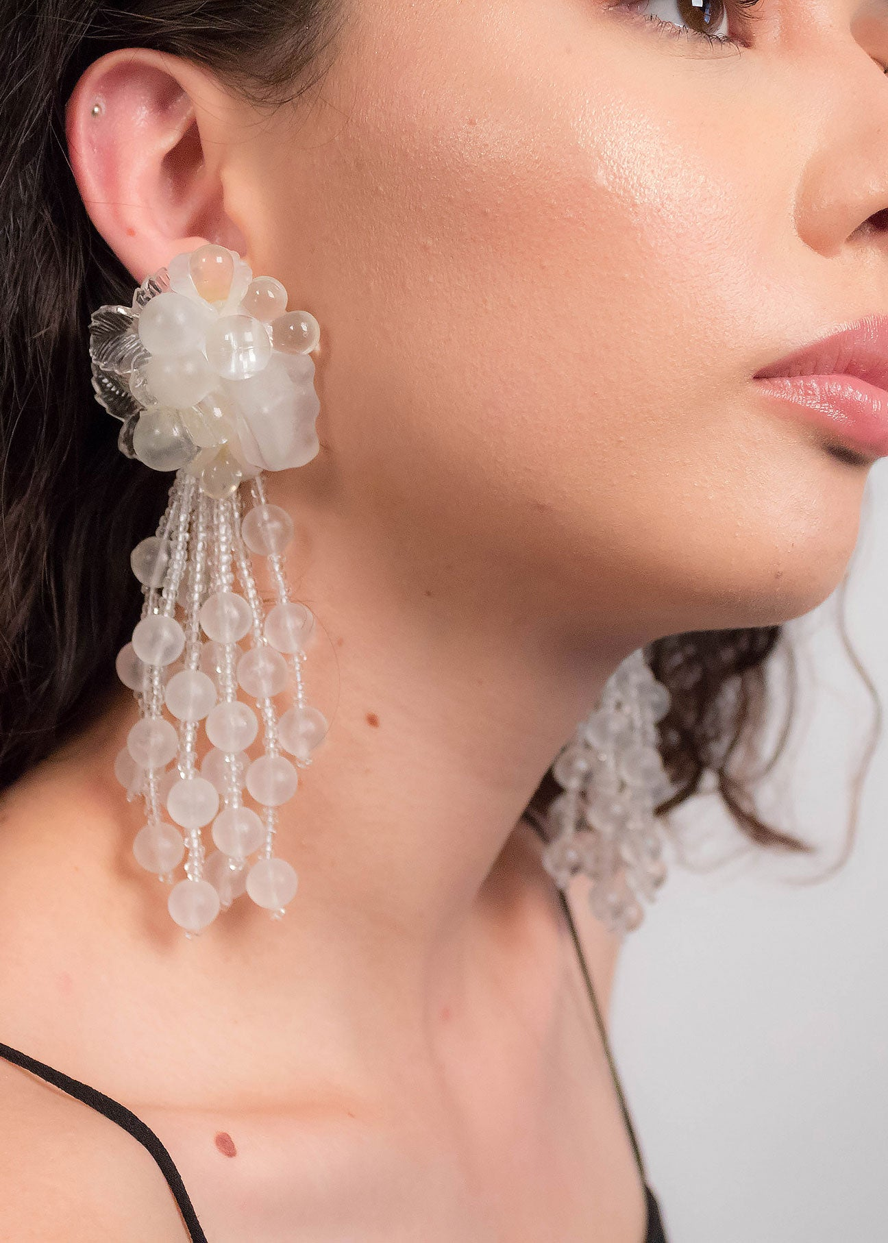 80s Floral Lucite Fringe Earrings