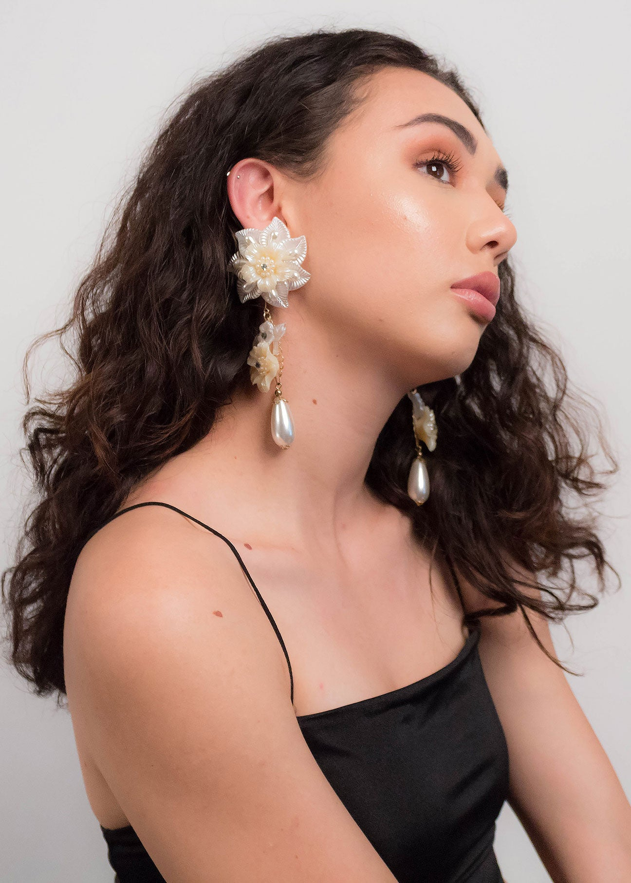 80s Long Dangle Floral Earrings