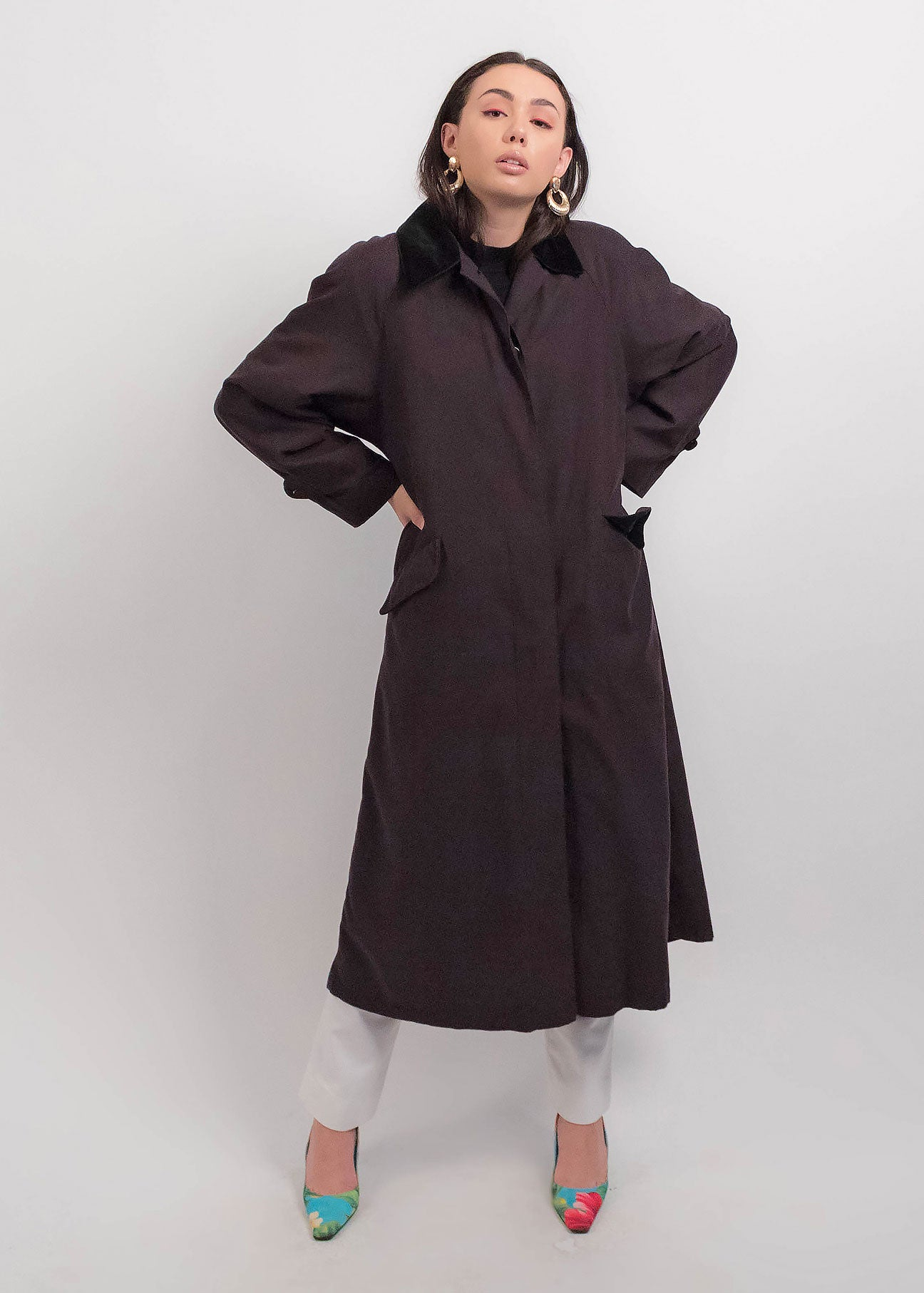 80s Black Trench Minimal Coat