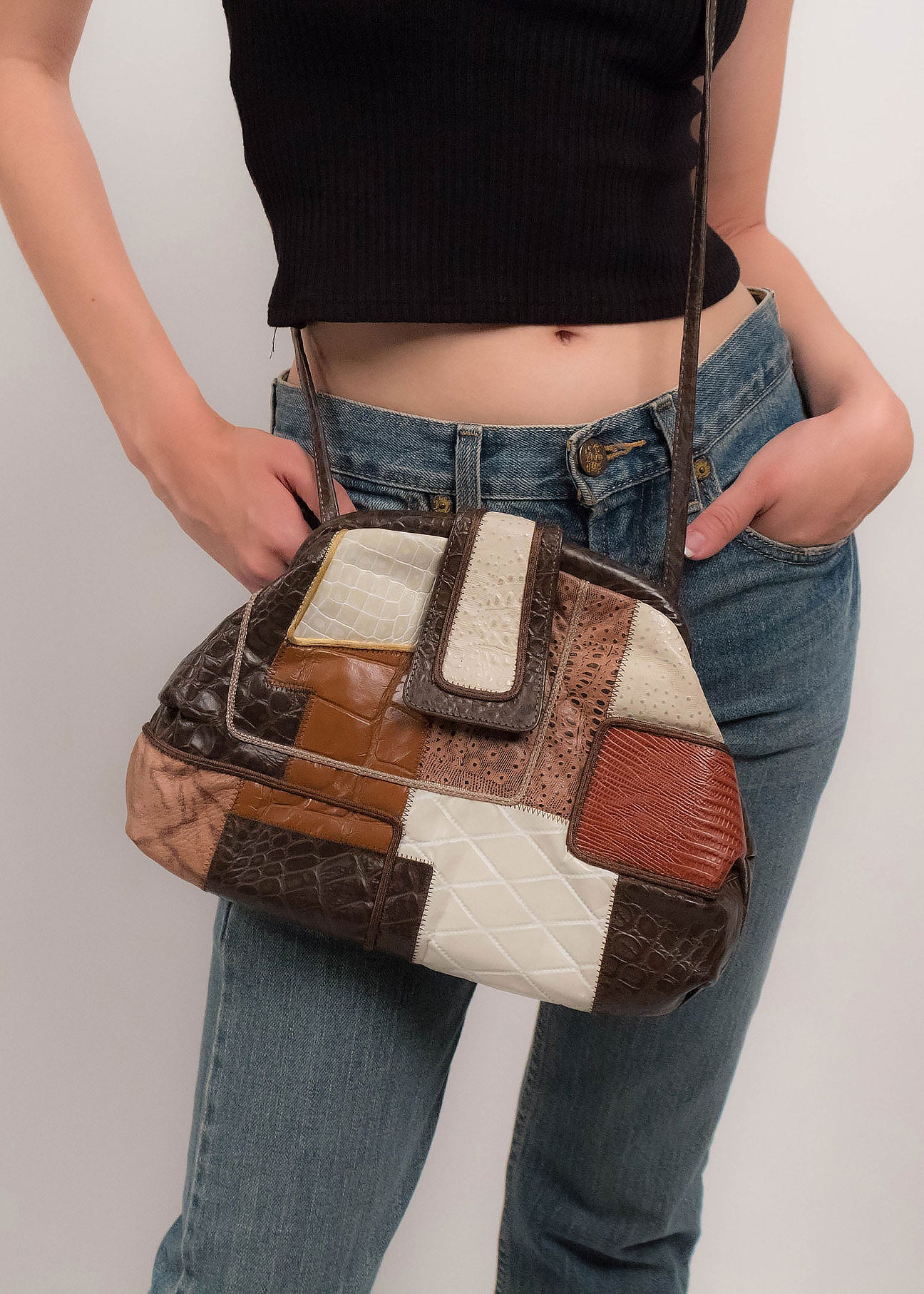 80s Faux Leather Patchwork Purse