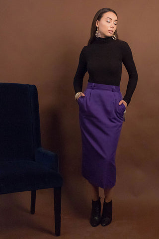 80s Ralph Lauren Silk Maxi Skirt