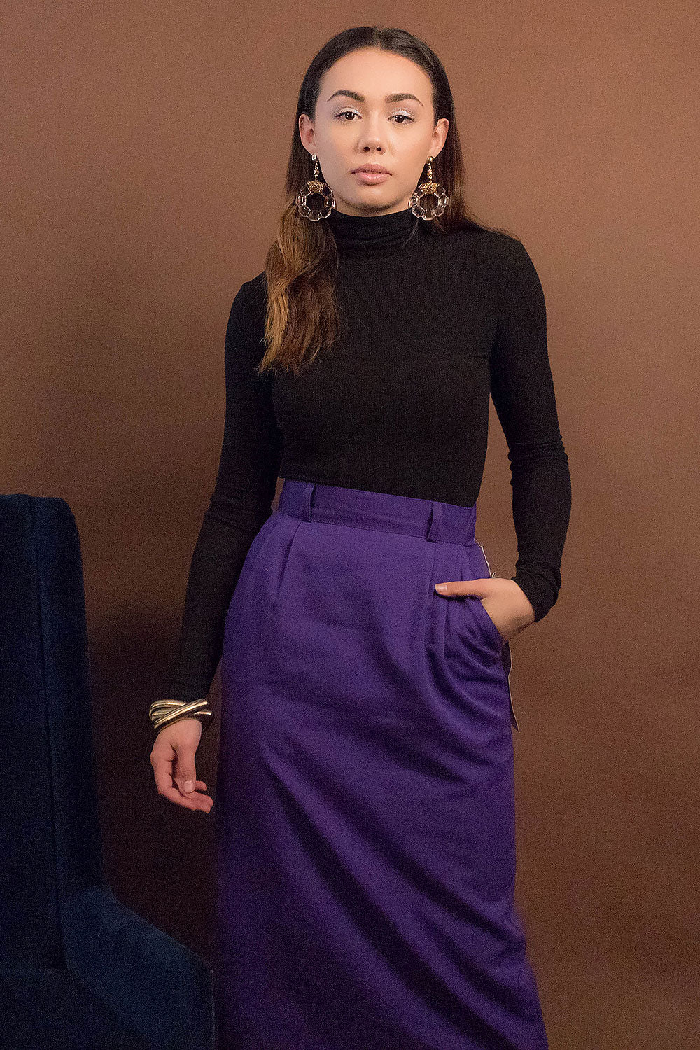 80s High-Waist Pencil Skirt