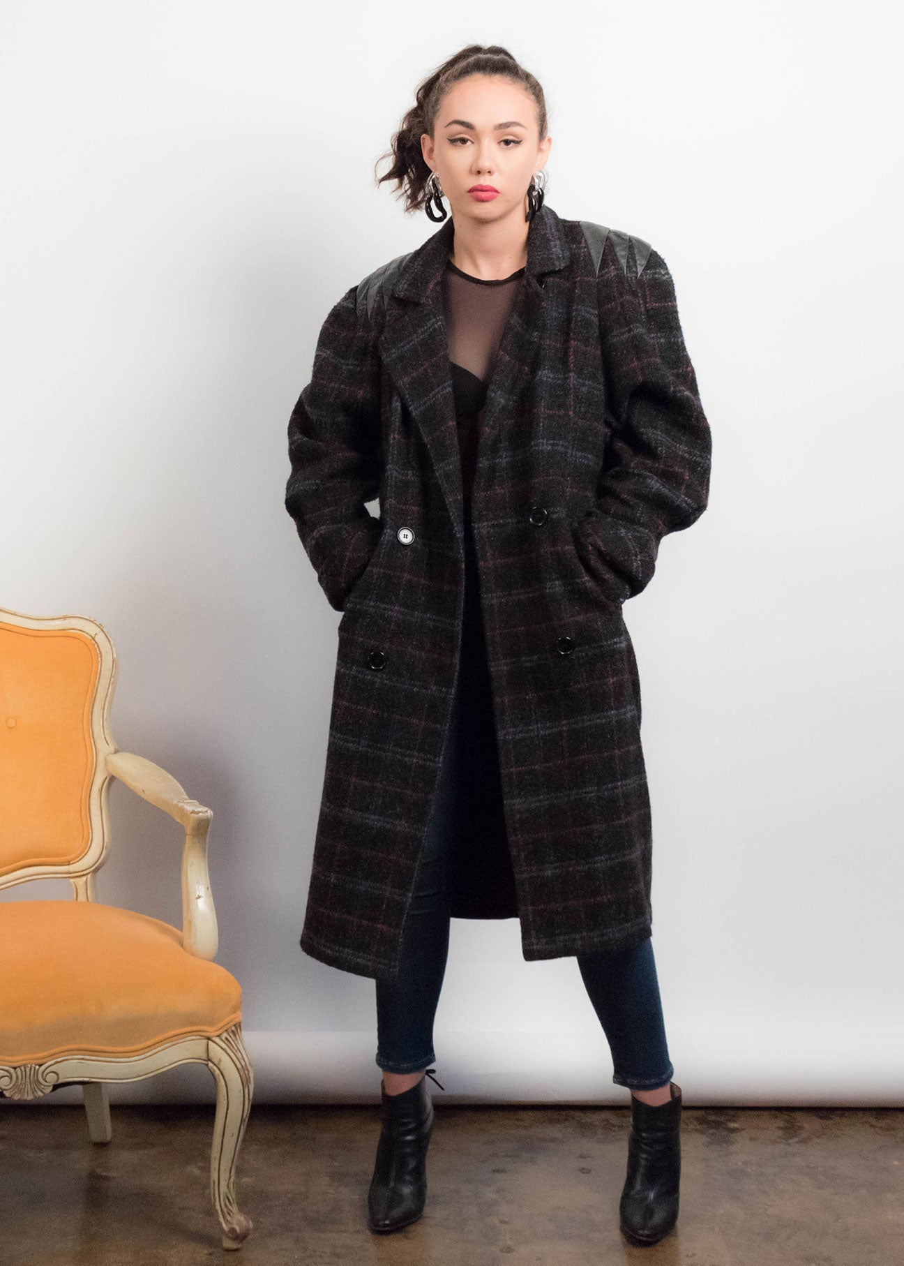 80s Box Plaid Wool Coat