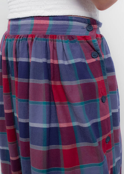 80s Cotton Plaid Maxi Skirt