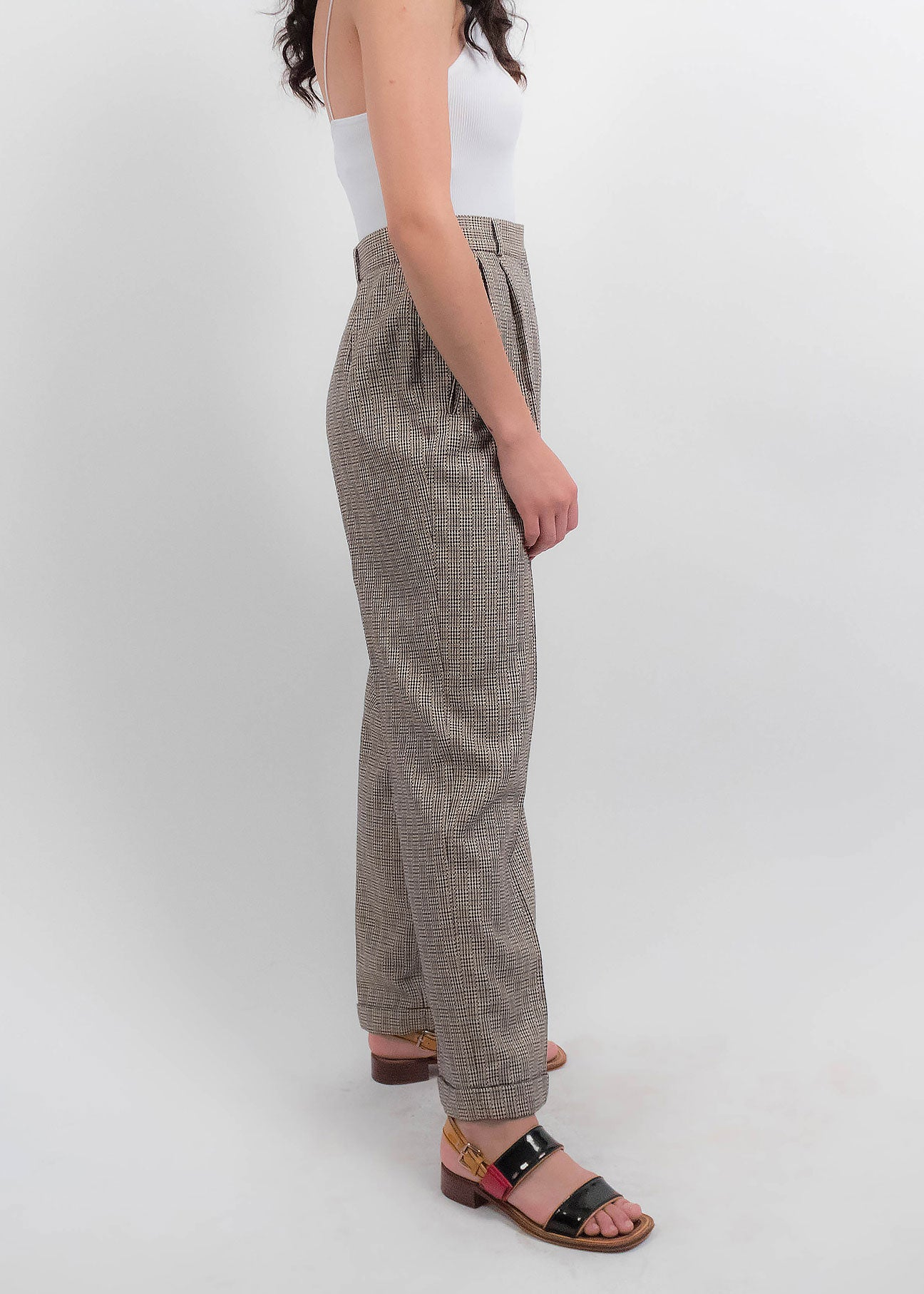80s Silk and Wool Plaid Trousers