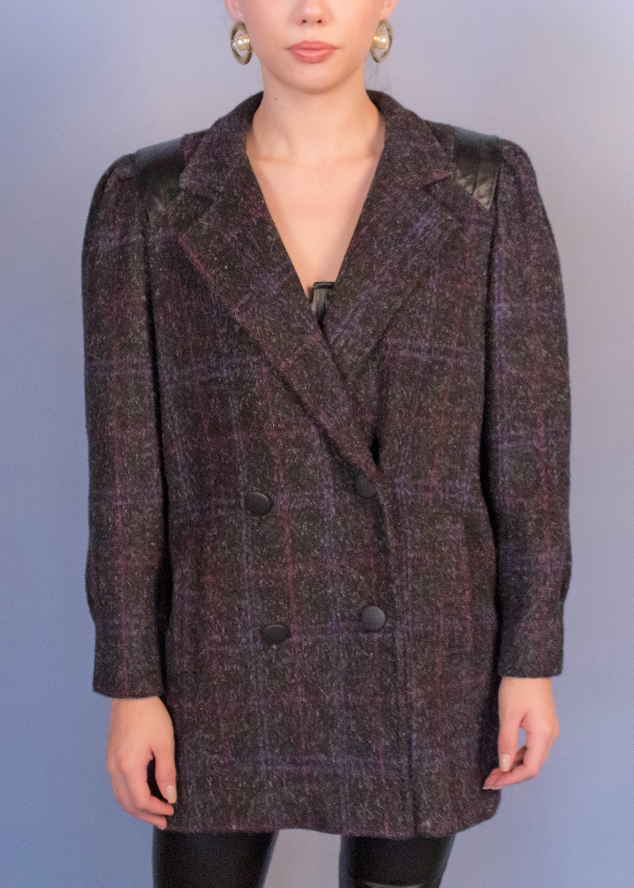 80s Box Plaid Wool Mohair Coat